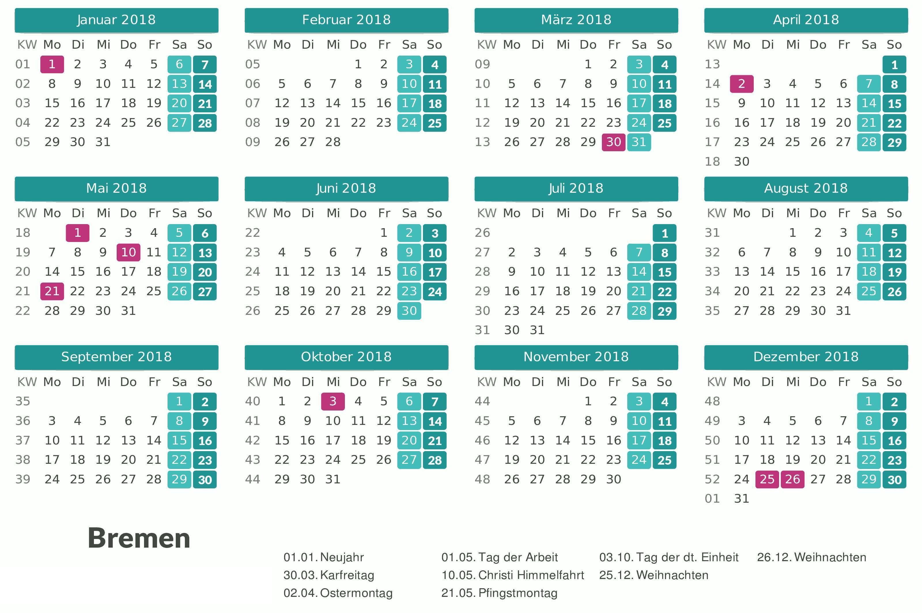 Kalender 2017 Mit Feiertagen Excel Kalender In Kw