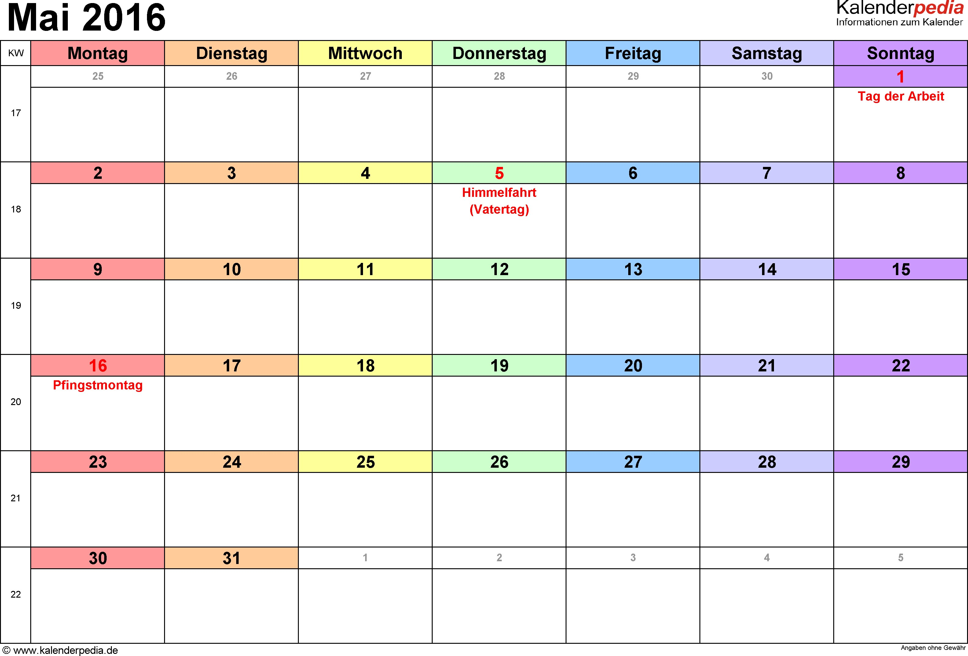 Kalender Mai 2016 Als Word Vorlagen