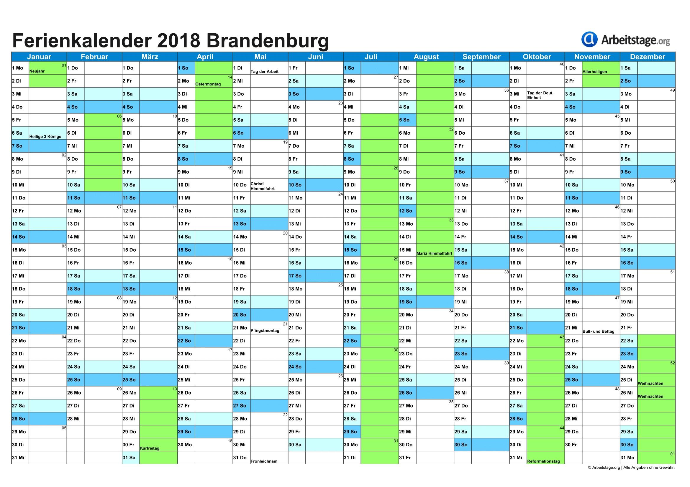 Ferien in Brandenburg BB 2018 2019 Ferienkalender