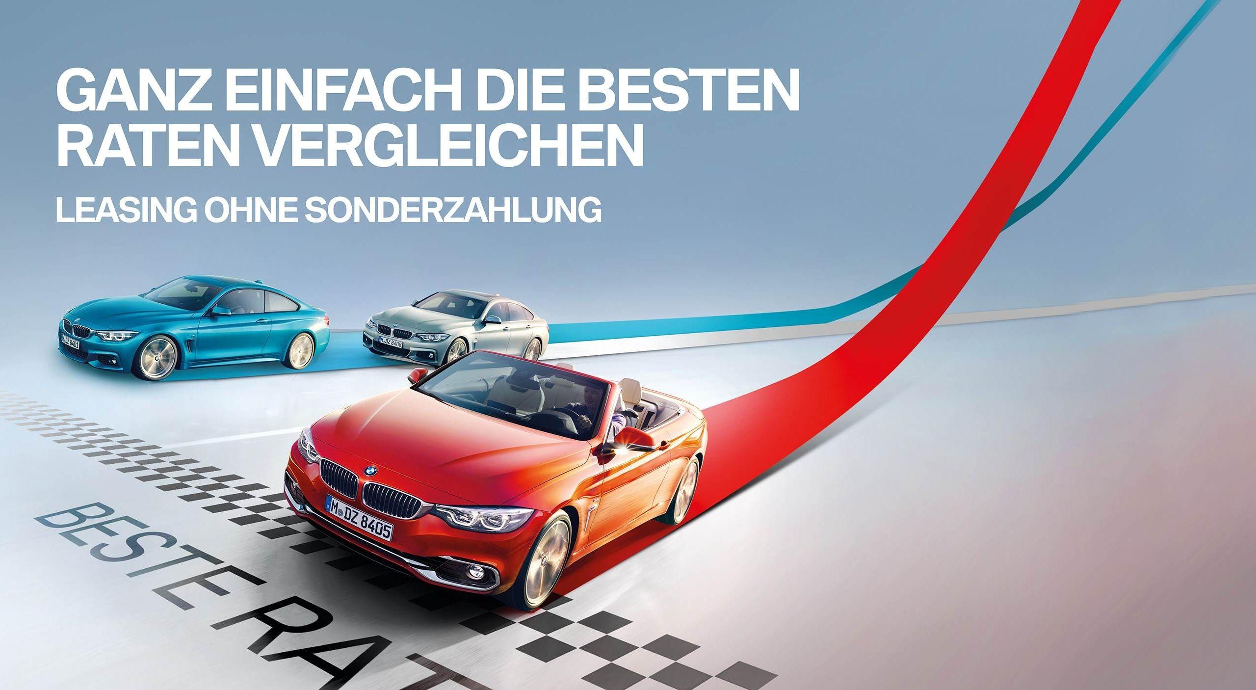 drei unterschiedliche BMW überqueren eine Ziellinie