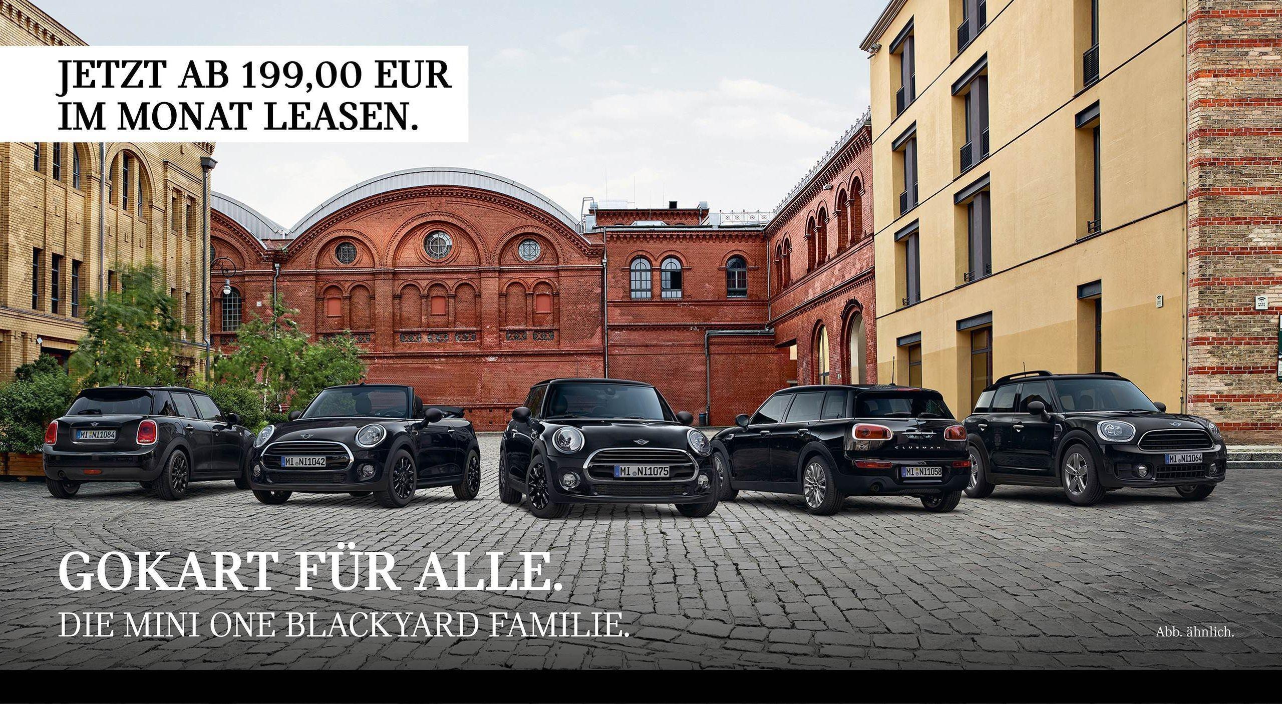 Gokart für alle Die MINI e Blackyard Modelle auf einem Bild vereint