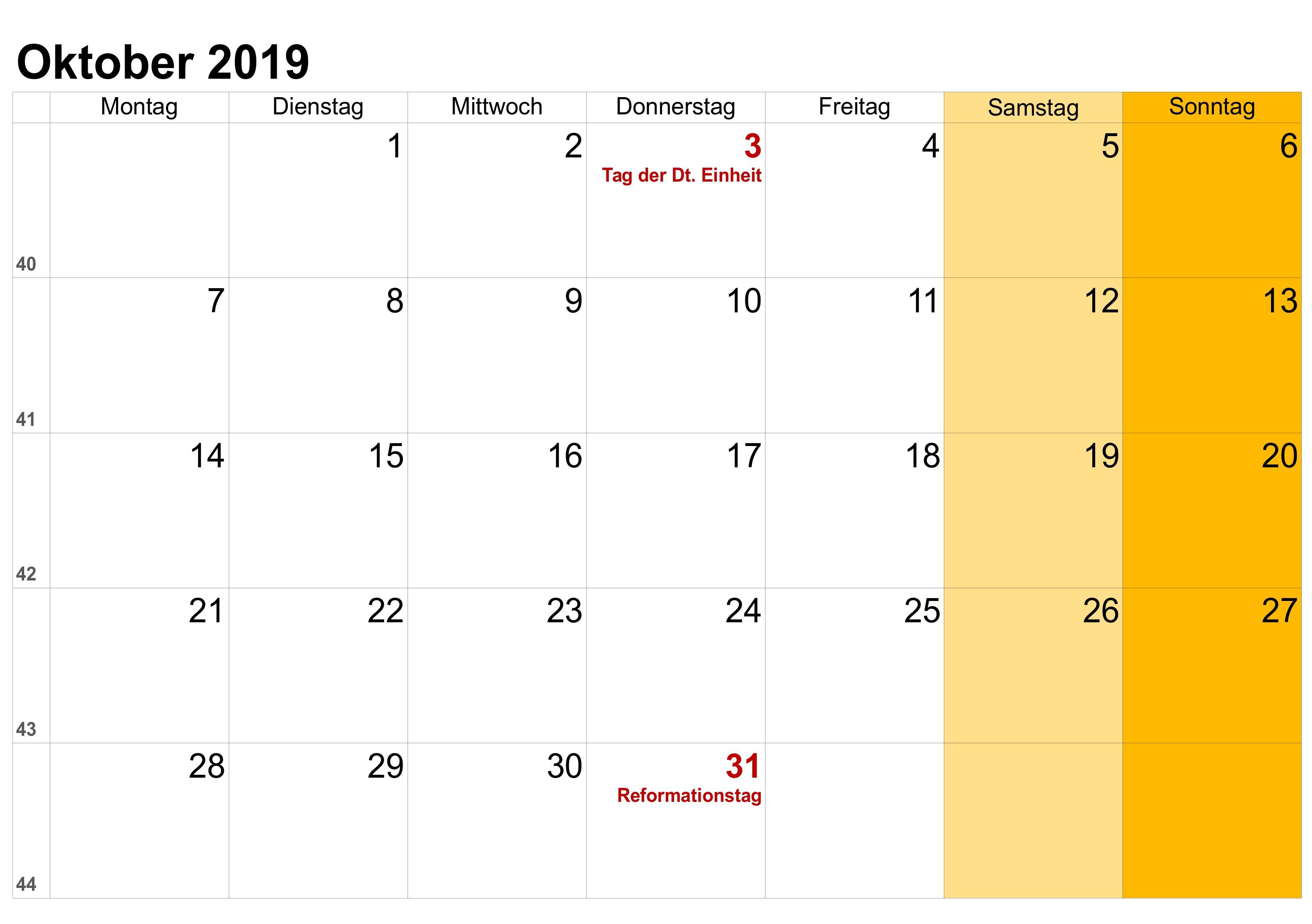 Kalender Oktober 2019 als PDF Excel Word