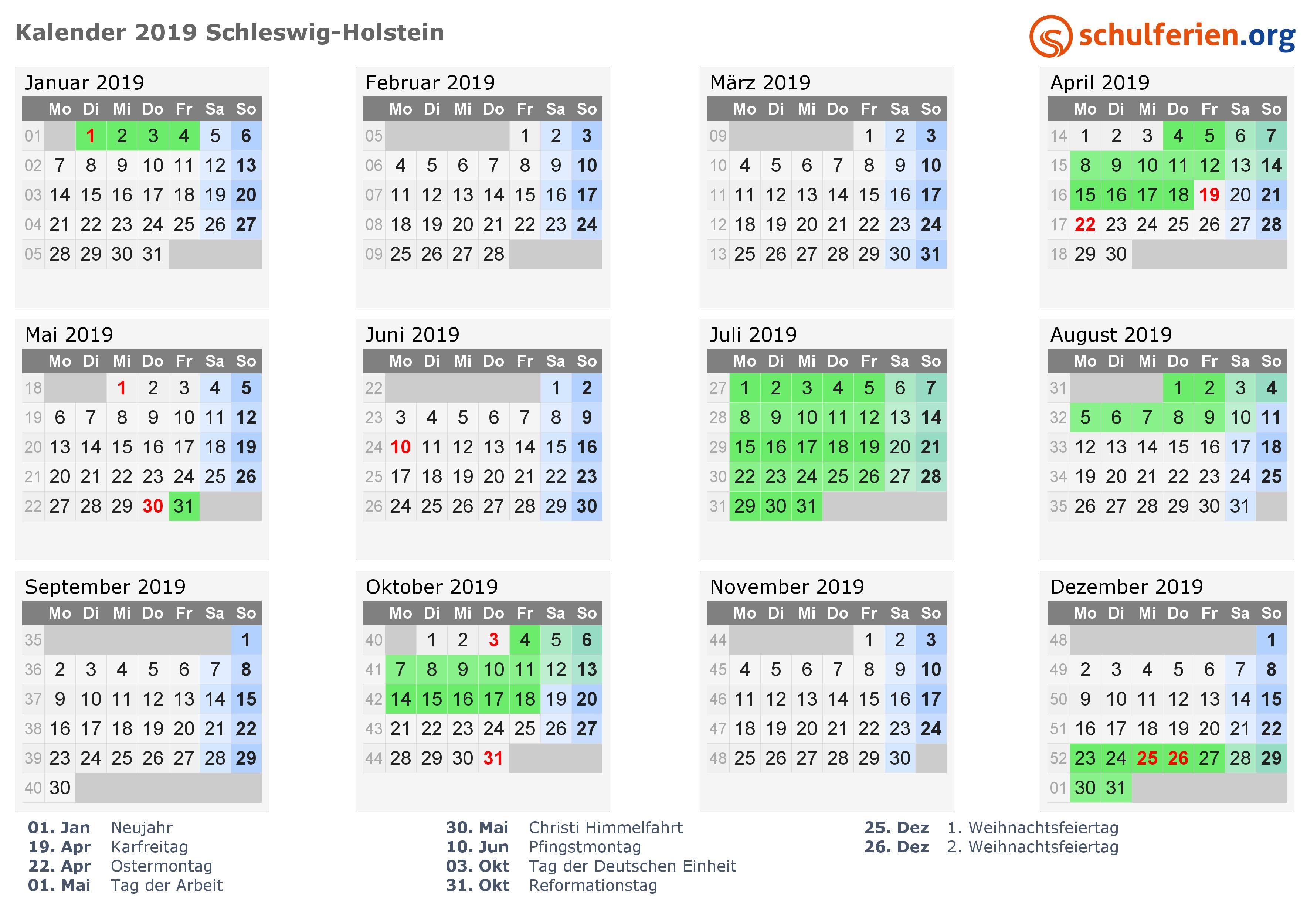 Kalender 2019 mit Ferien und Feiertagen Schleswig Holstein