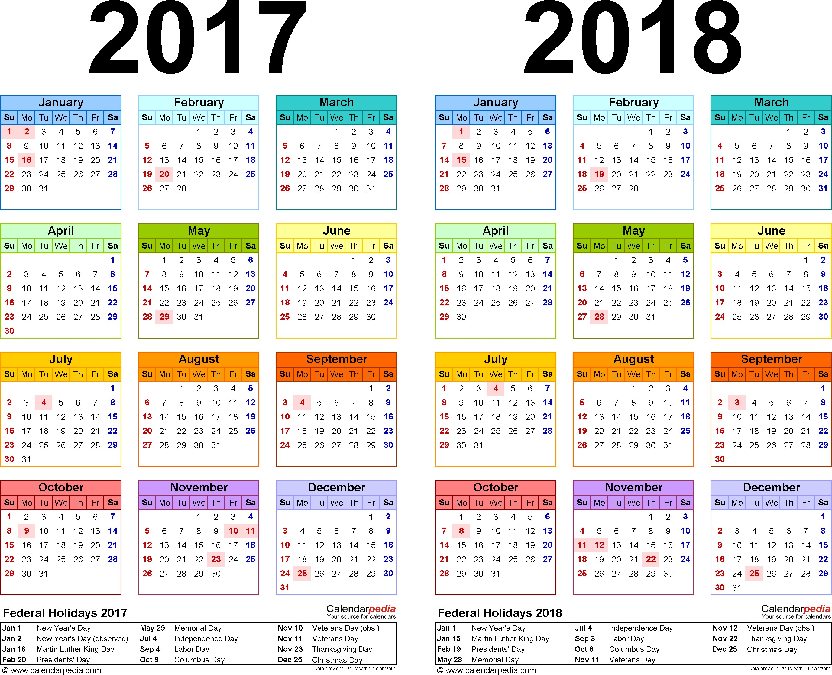 Kalender 2019 Update With 2017 2018 Calendar Free Printable Two Year Excel Calendars