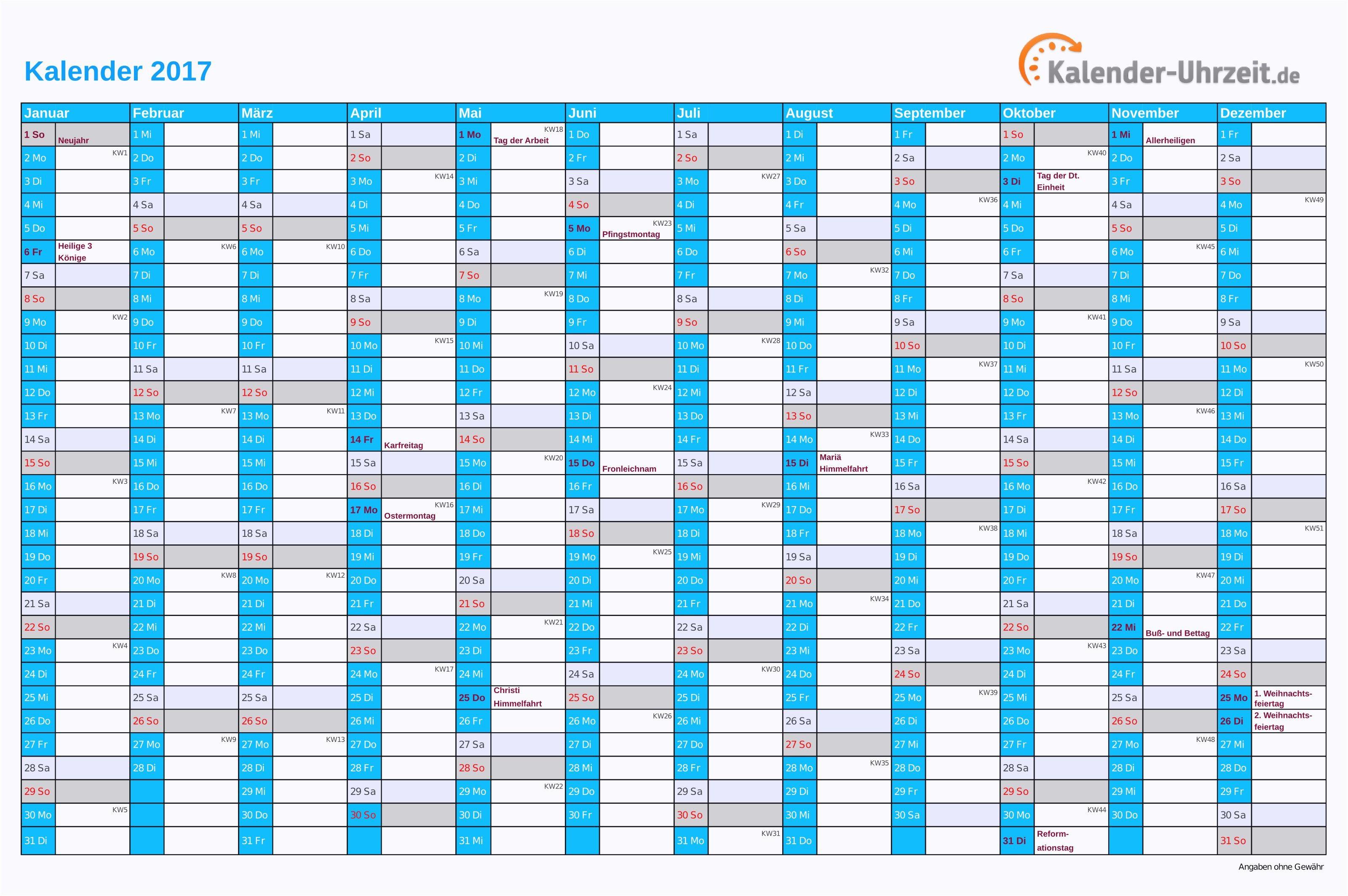 Kalender 2016 Mit Feiertagen Pdf Génial Kalender 2017 Vorlage