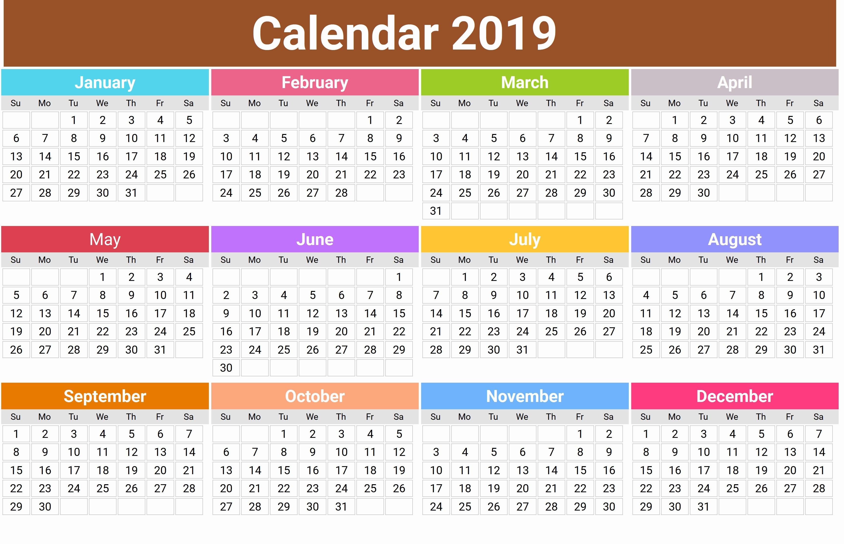 Print a calendar 2019 Cute 2019 Monthly Calendar Calendar 2019