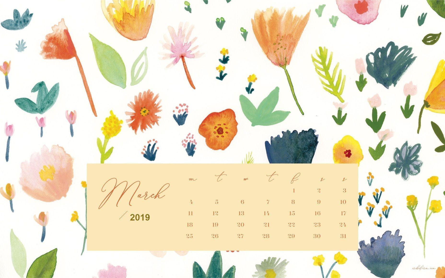 2019 Calendar Excel with Holidays March 2019 Calendar Floral Background 2019 Calendar Excel with Holidays