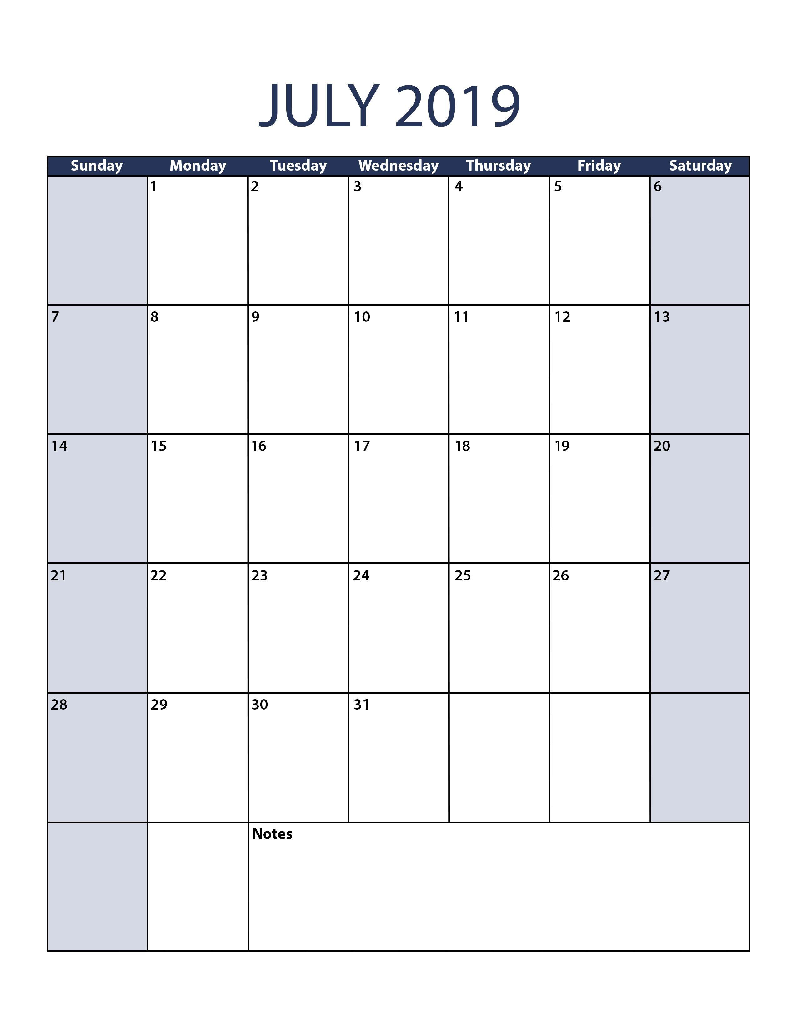 2019 Calendar Pdf File July 2019 Calendar Template 2 550—3 300 2019