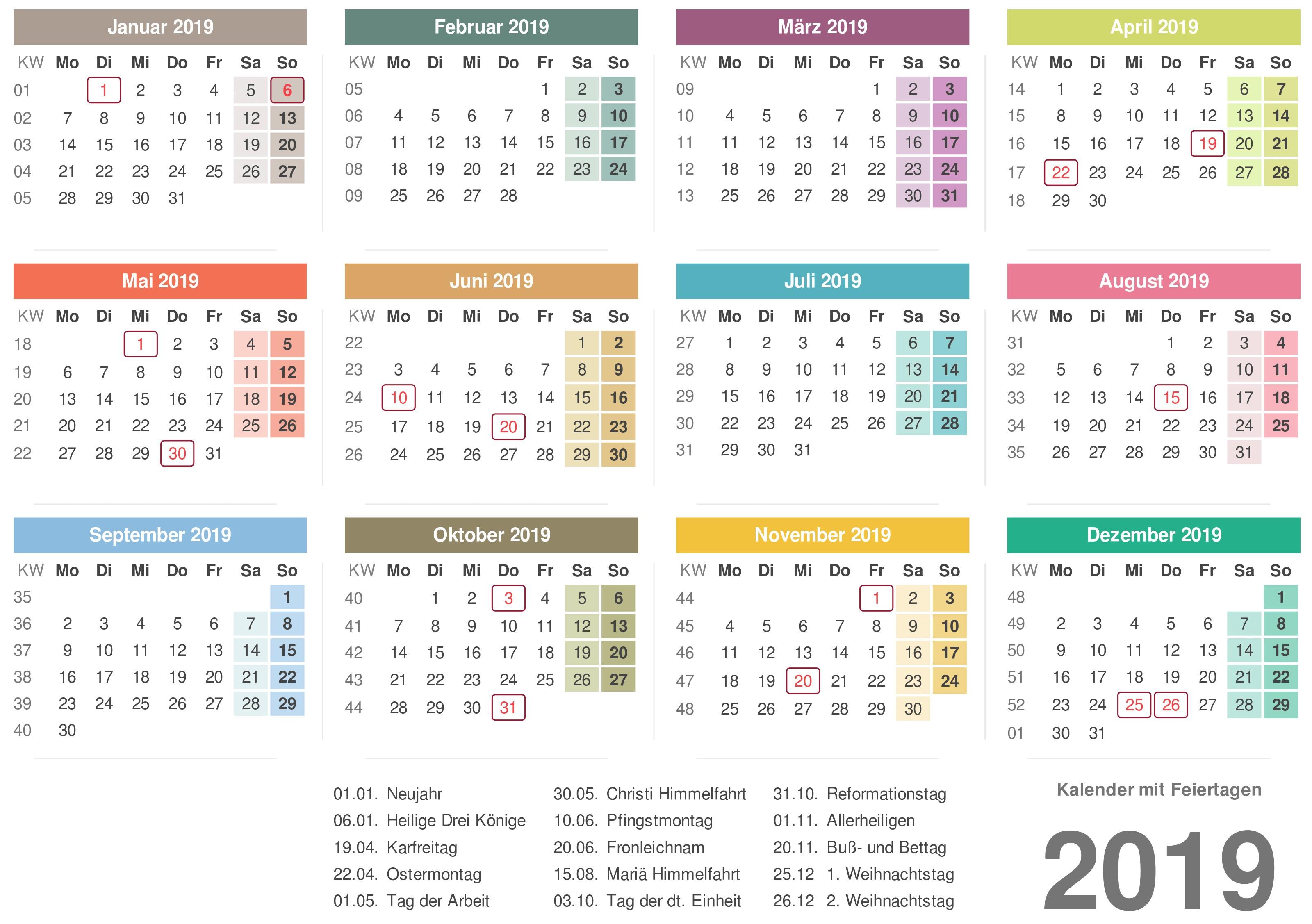 Kalender 2019 Indonesia Ferien Feiertage Excel PDF
