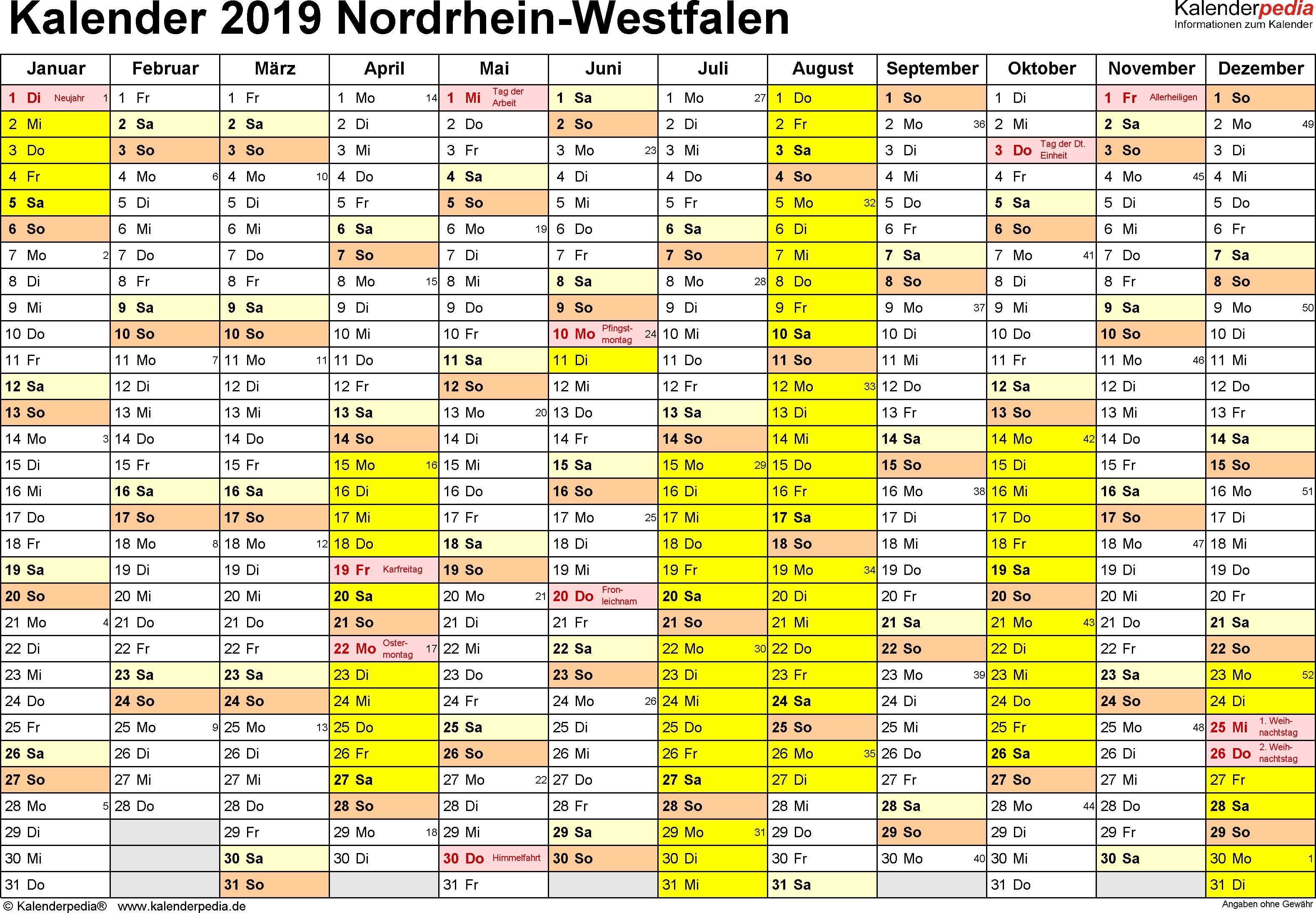 Kalender 2019 Nrw Ferien Feiertage Pdf Vorlagen
