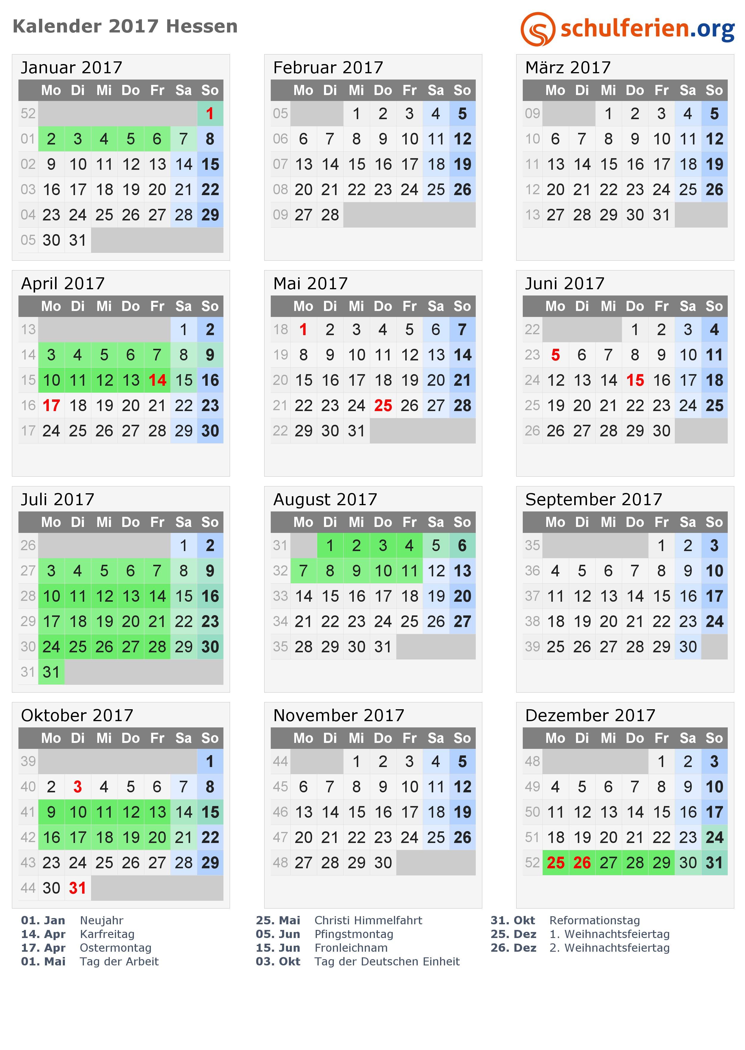Kalender 2017 mit Ferien und Feiertagen Hessen · PNG PDF