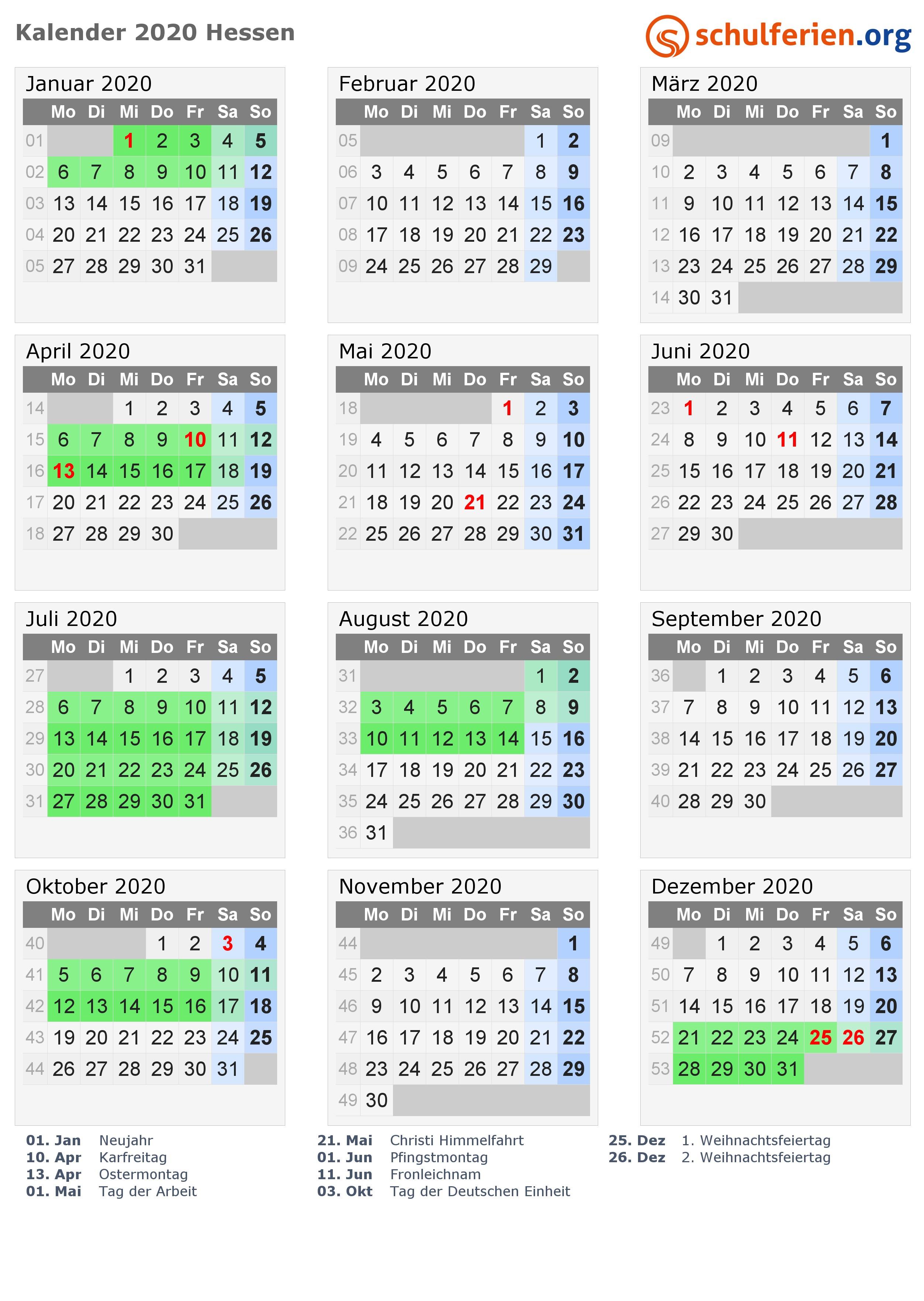 Kalender 2020 mit Ferien und Feiertagen Hessen PNG PDF