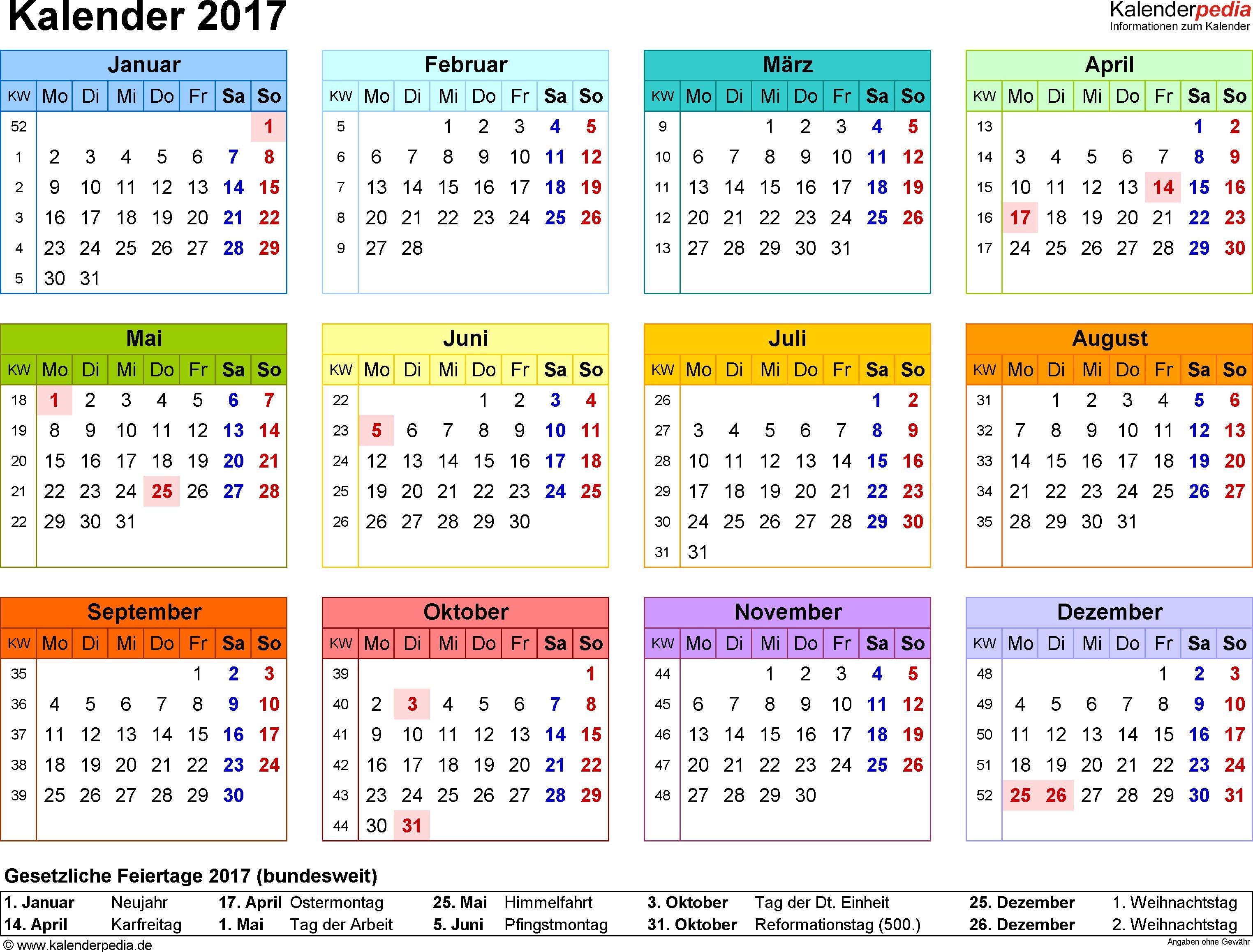 Calendar Kalender 2017 Zum Ausdrucken · Kalender 2019 Zum Ausdrucken Pdf Vorlagen