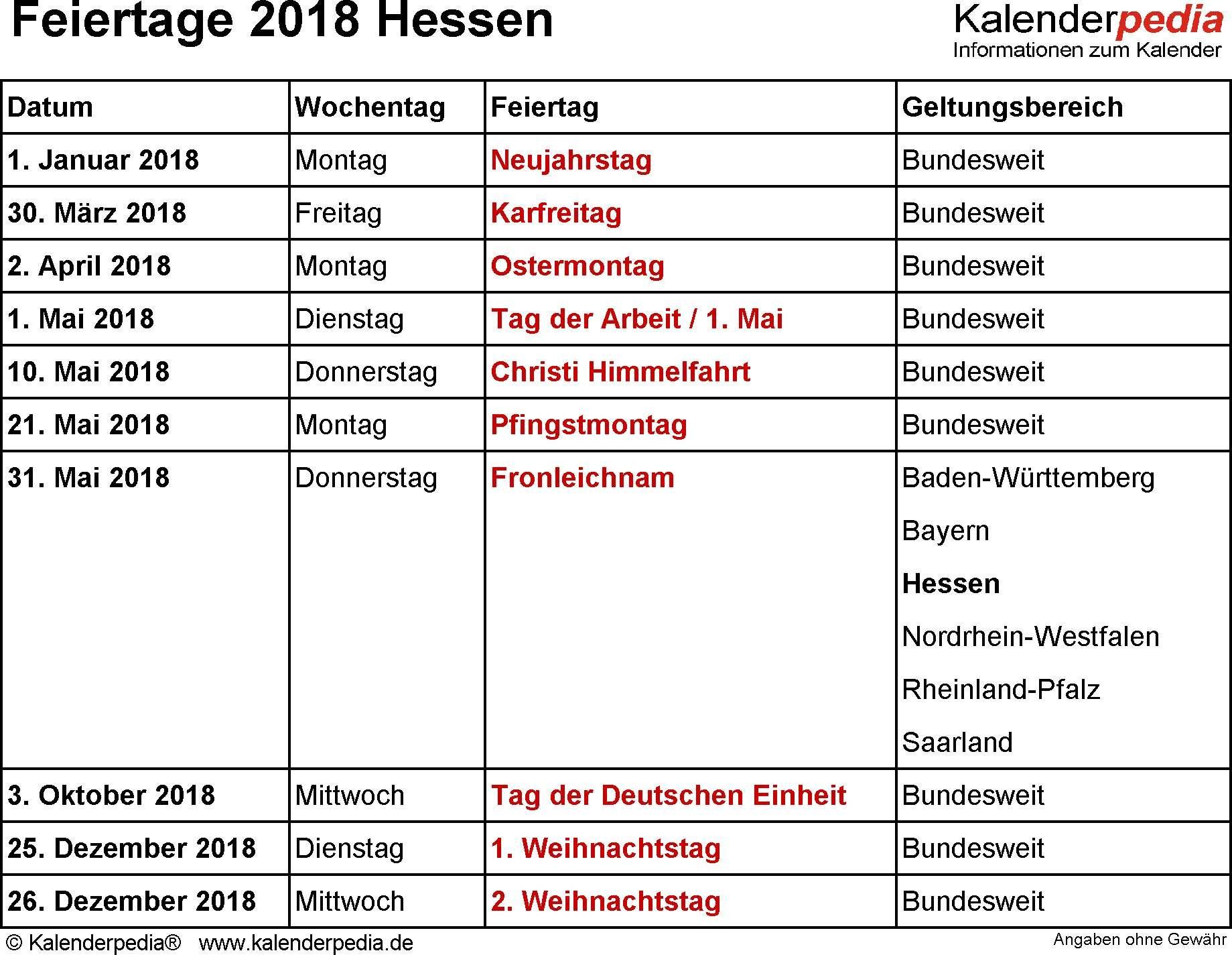 Feiertage Hessen 2018 2019 & 2020 Mit Druckvorlagen Schema Von Weihnachten Feiertage 25 Schön Weihnachten