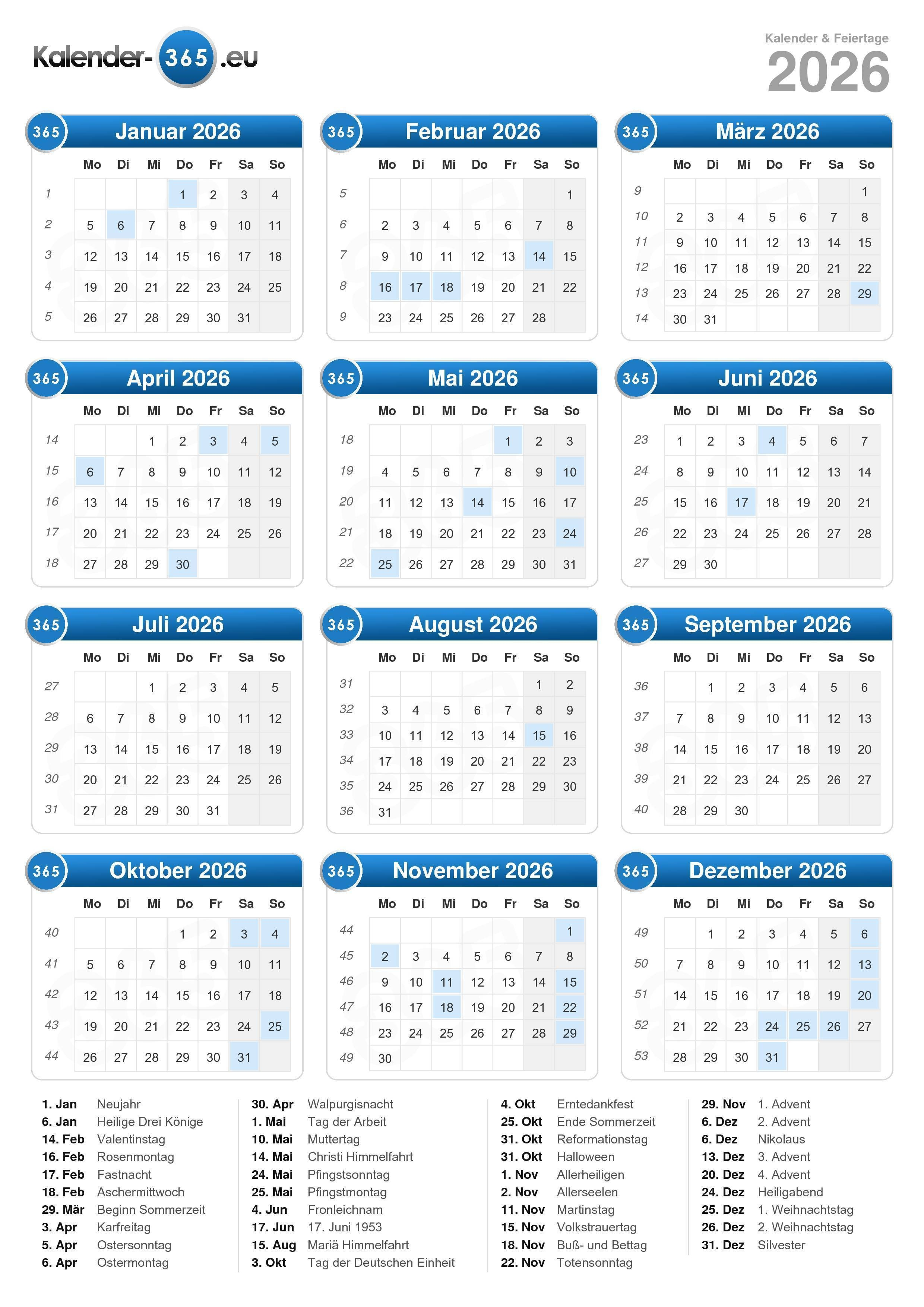 Kalender 2026