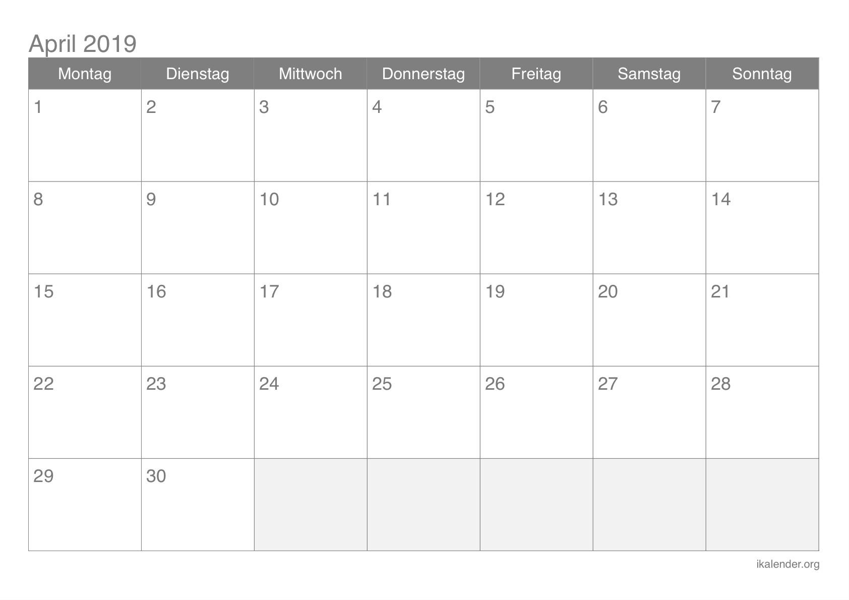 April 2019 Kalender Wort