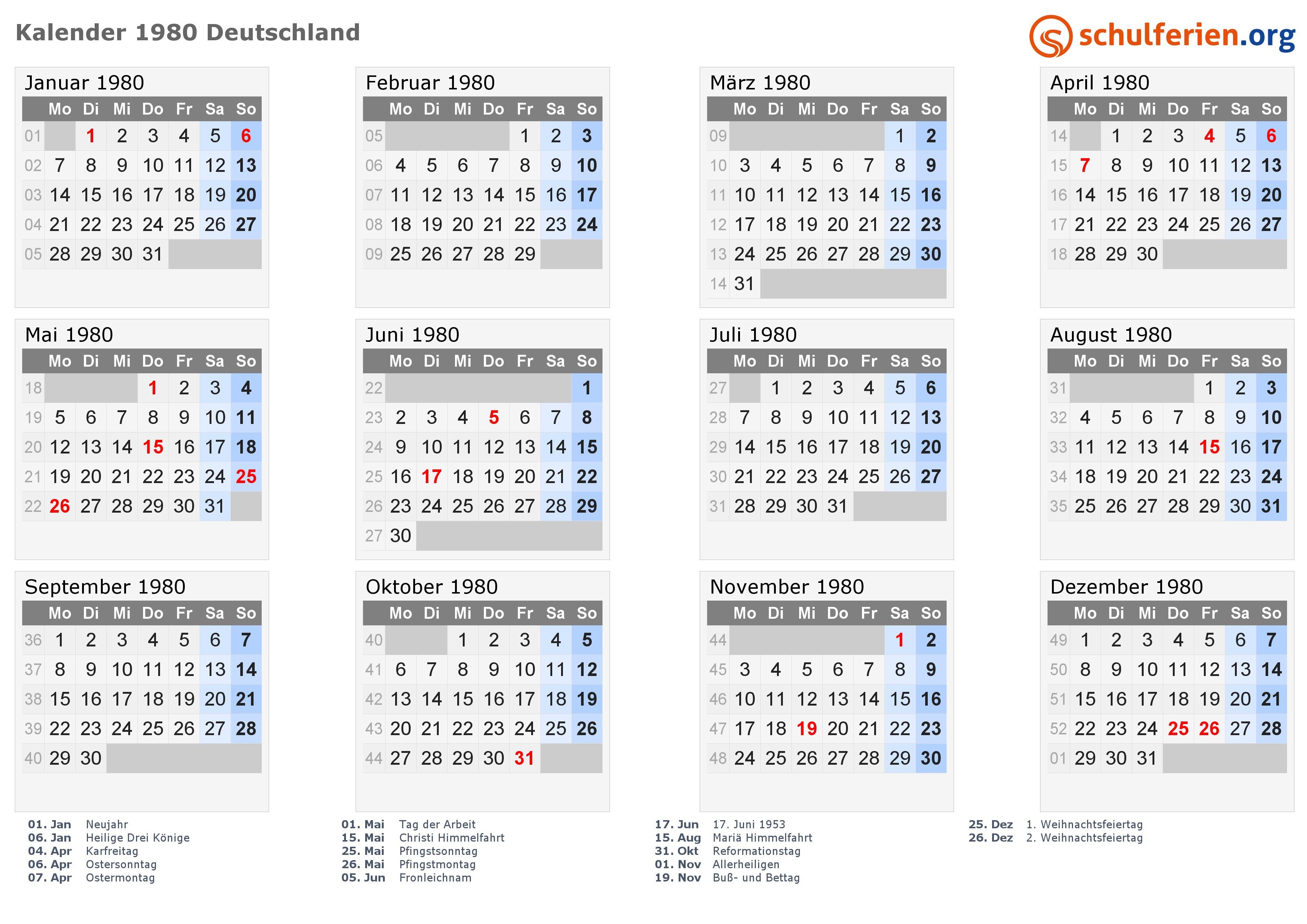 Kalender 1980 mit Feiertagen · PNG PDF