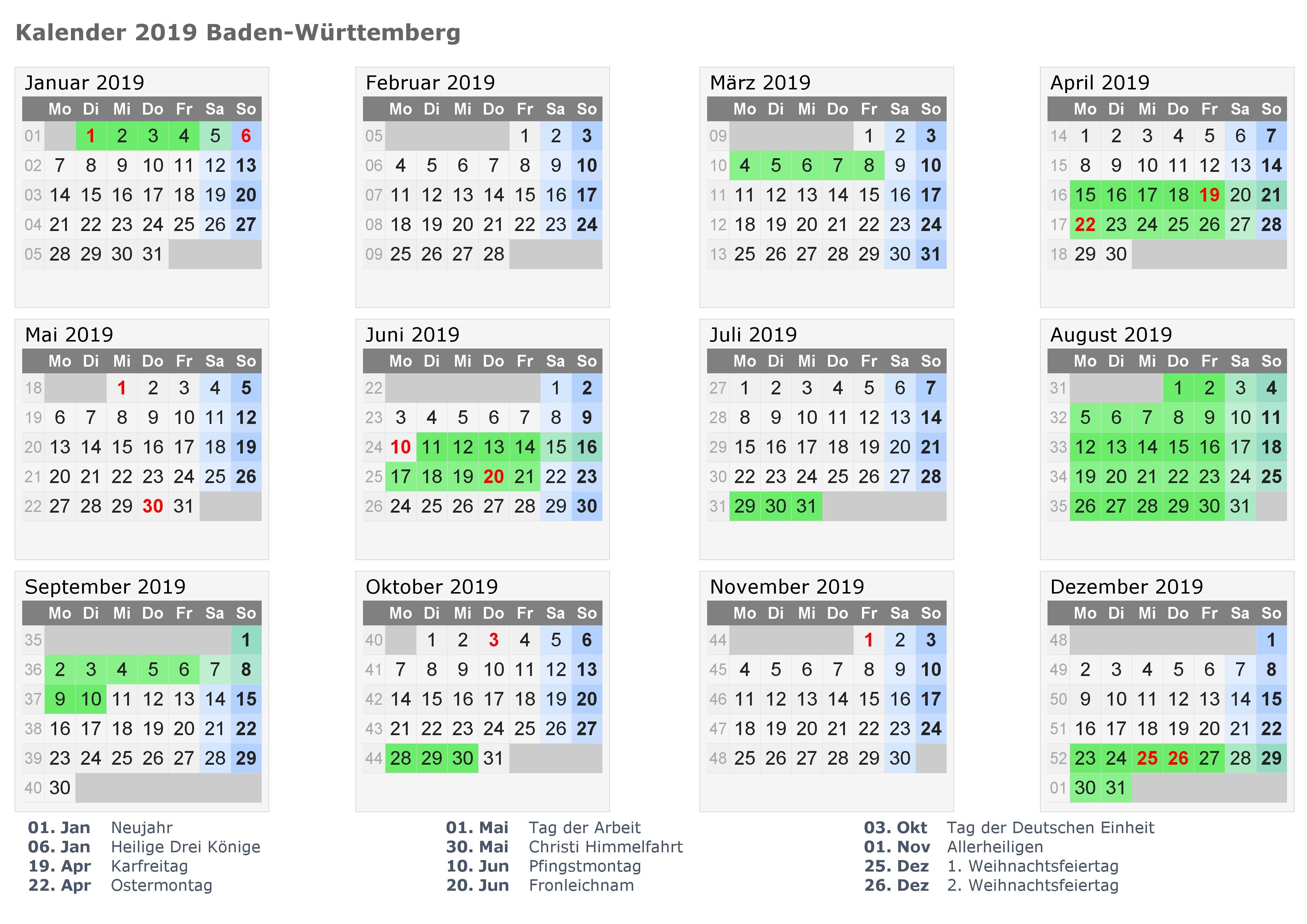 Sommerferien Baden Württemberg 2019 Kalender Kalender 2018 Schulferien Pdf Excel Word