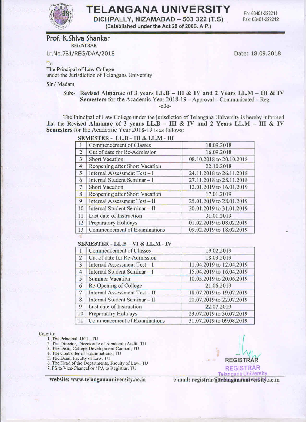 Revised Almanac of 3 years L L B III & IV SEM and 2 years L L M III & IV sem for the A Y 2018 19