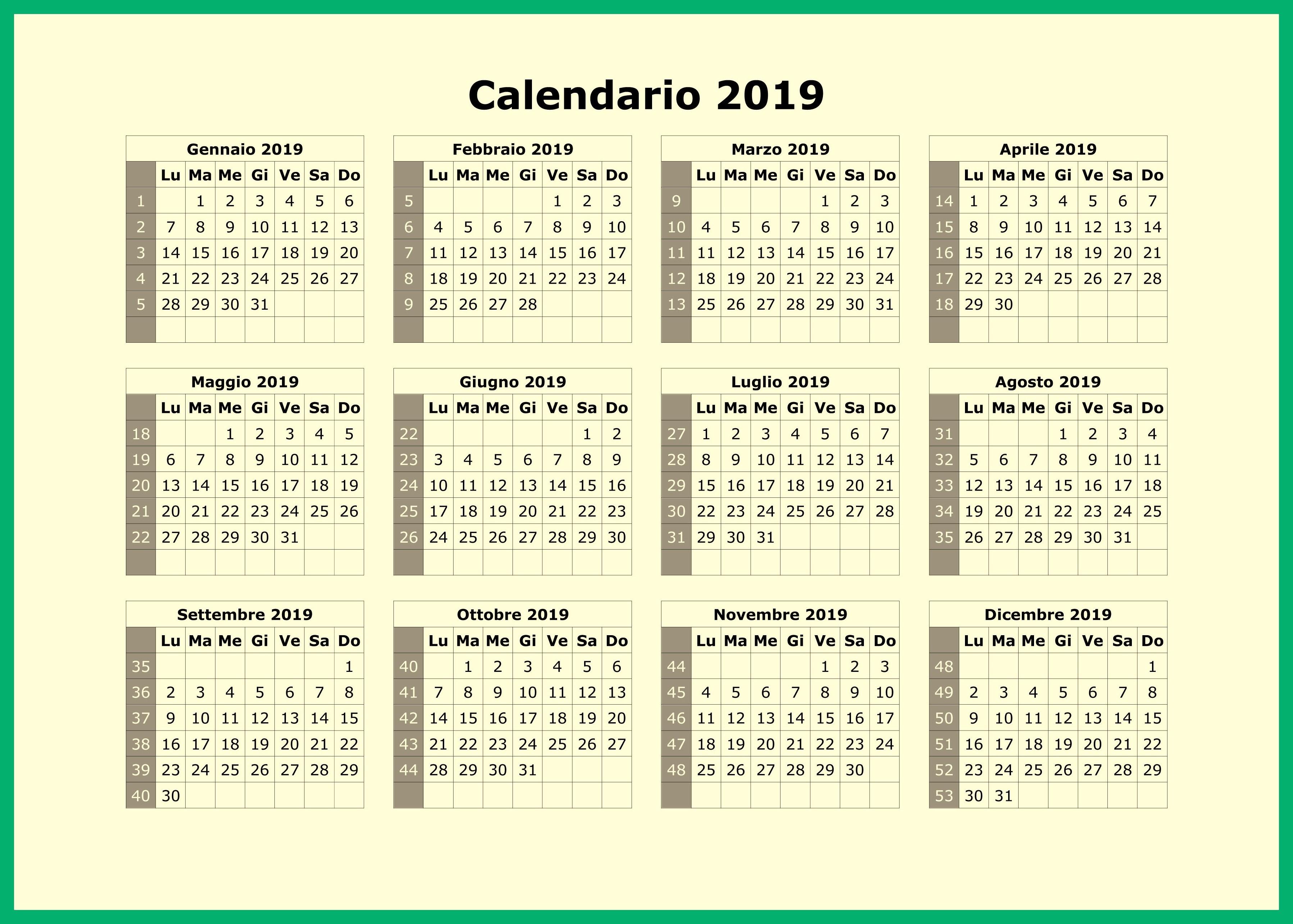 Calendario para imprimir por semestre con vacaciones 3595x2569 Calendario 2019 colombia word
