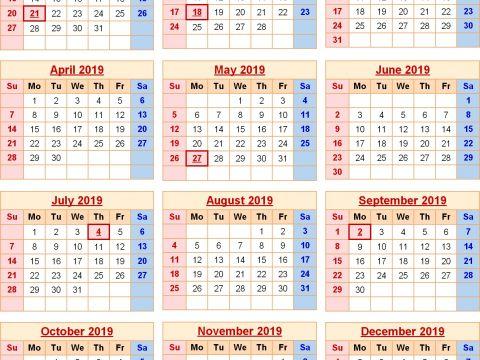 Plantilla Calendario Anual 2019 Excel Actual Kalender 2019 Book