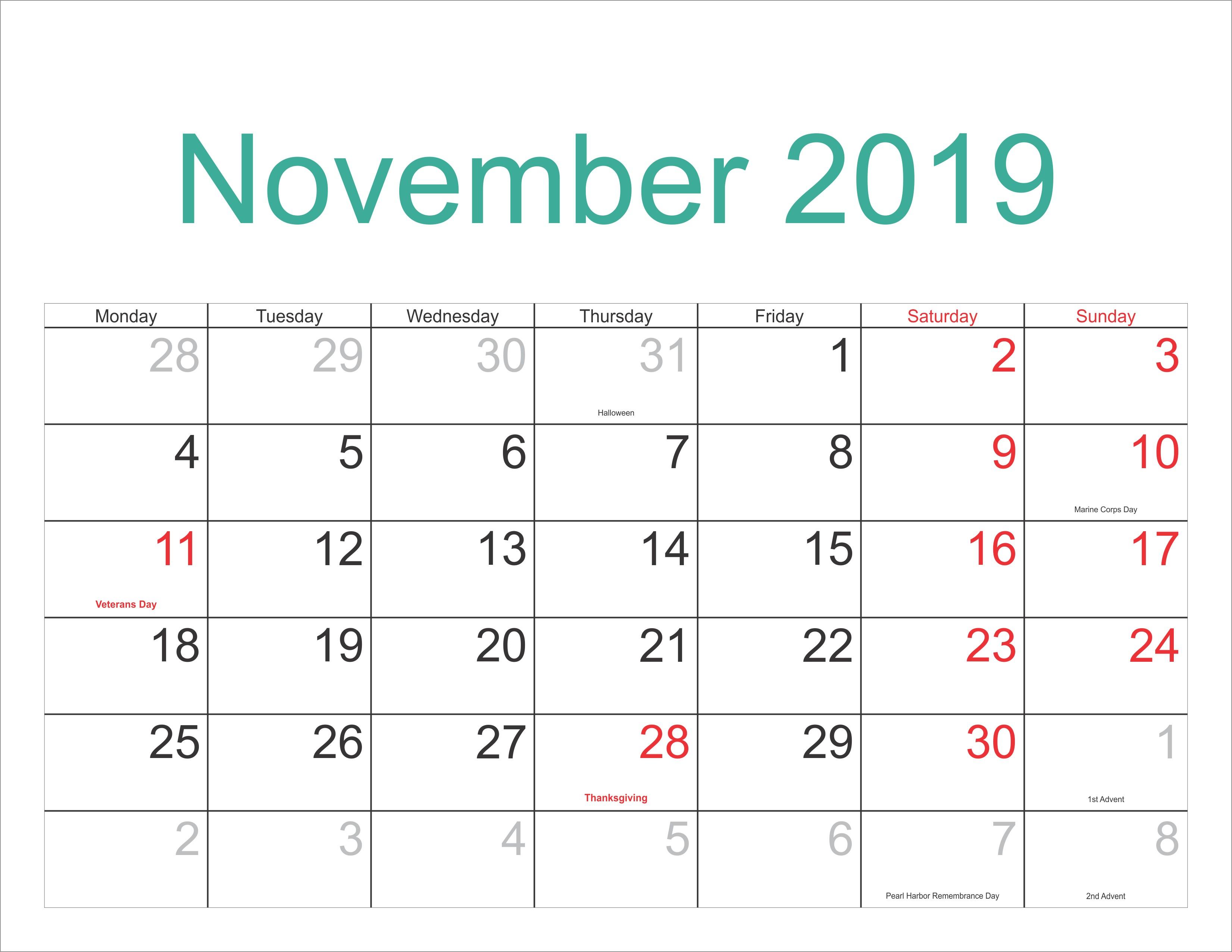 Year Calendar 2019 Excel Actual Excel Calendar Template for 2019 Of Year Calendar 2019 Excel Más Recientes Einzigartig Kalender 2019 Excel Vorlage — Omnomgno