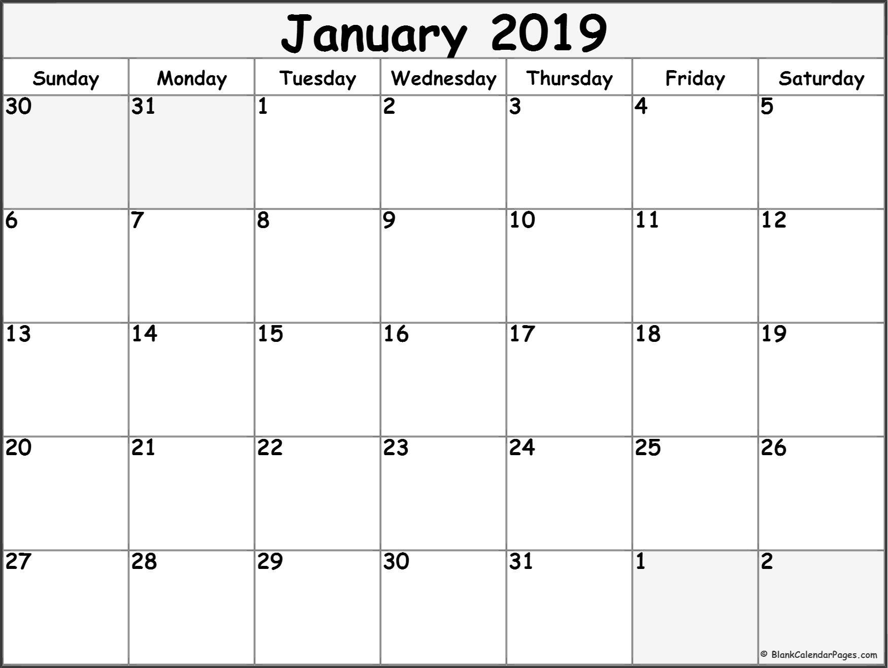 Free Monthly January 2019 Calendar Pdf Word Excel Page Notes Blank