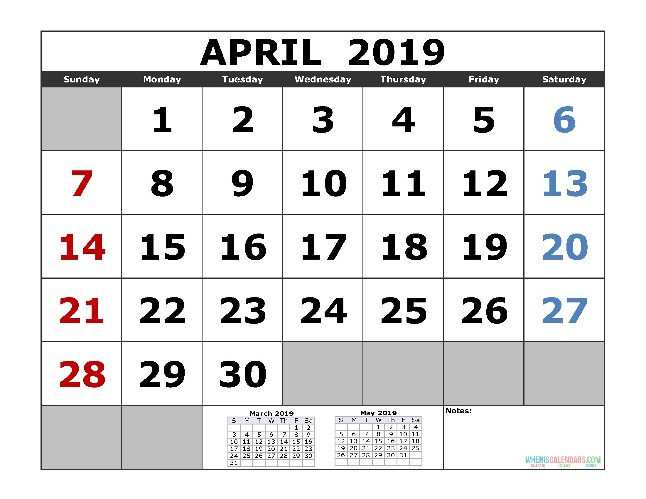 April 2019 Printable Calendar Template 3 Month Calendar Free