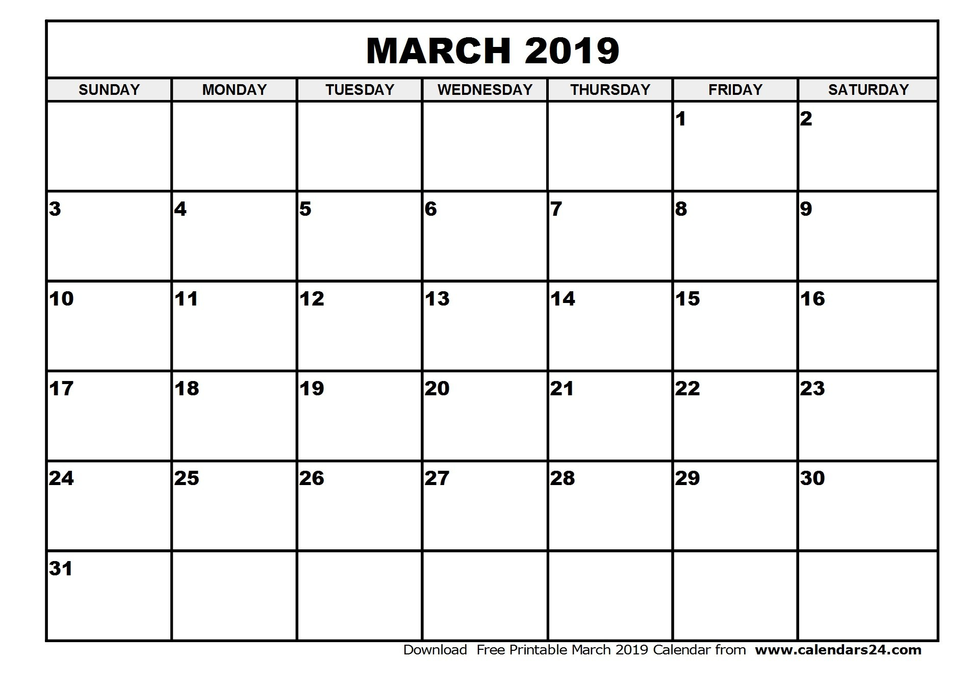 March 2019 Calendar Template Calendar Year Printable