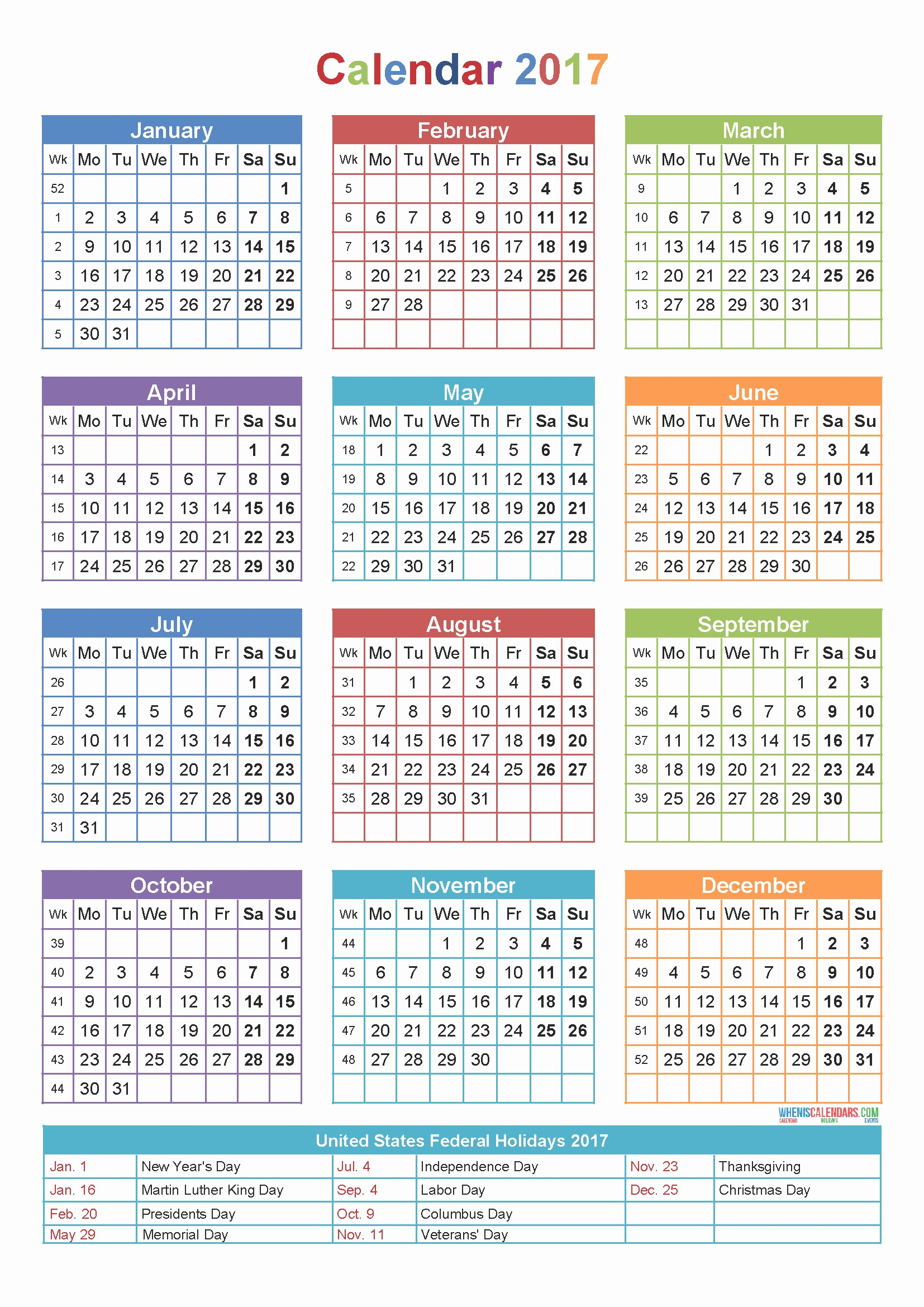 Calendar Template 2019 2017 Elegant 2017 Printable Yearly Calendar with Holidays