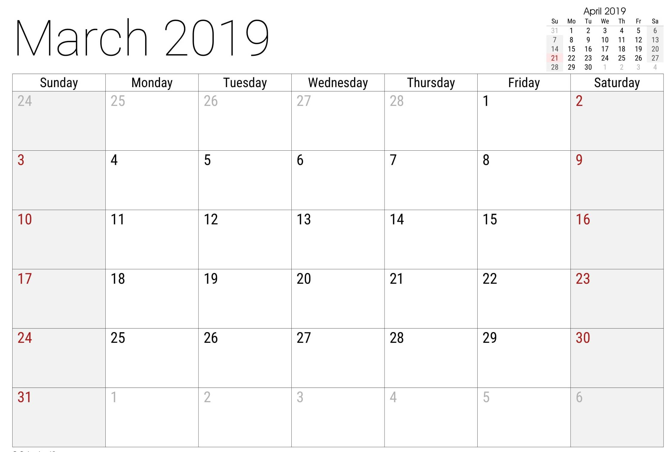 March Calendar 2019 Actual Print March Calendar 2019 – Free Calendar Templates & Worksheets for Of March Calendar 2019 Más Populares February March Calendar 2019 2018 Printable Calendar Store