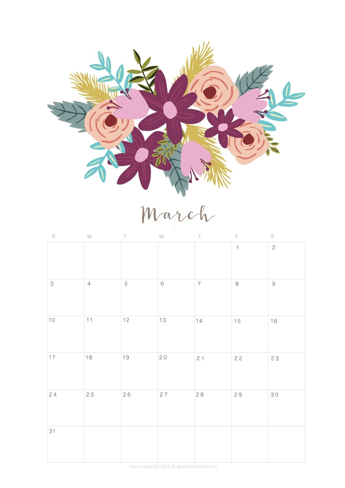 March Calendar 2019 Más Actual Printable March 2019 Calendar Monthly Planner 2 Designs Flowers Of March Calendar 2019 Más Recientes March 2019 Wall Calendar Colorful Sketch Horizontal Template Letter