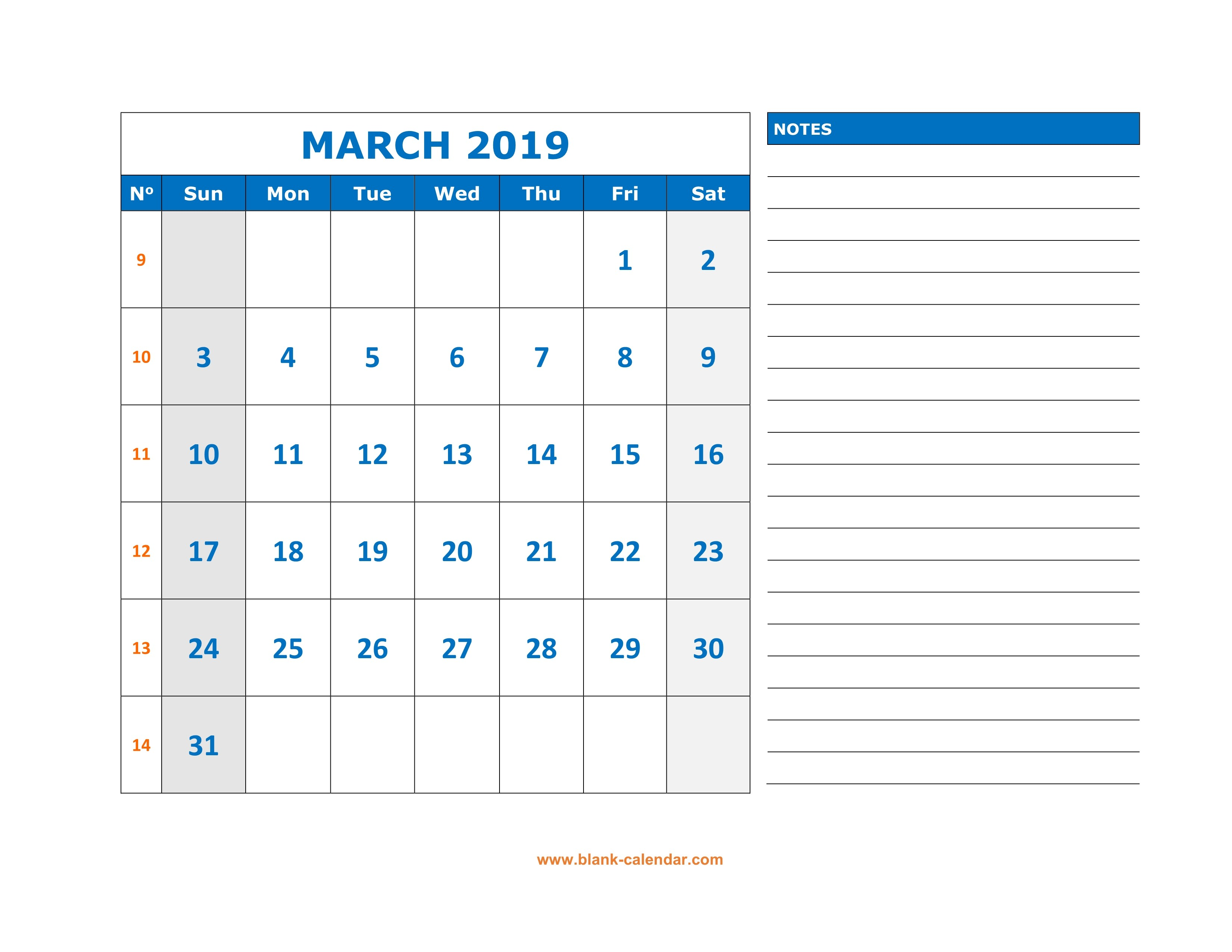 March Calendar 2019 Más Reciente Free Download Printable March 2019 Calendar Large Space for Of March Calendar 2019 Más Populares February March Calendar 2019 2018 Printable Calendar Store