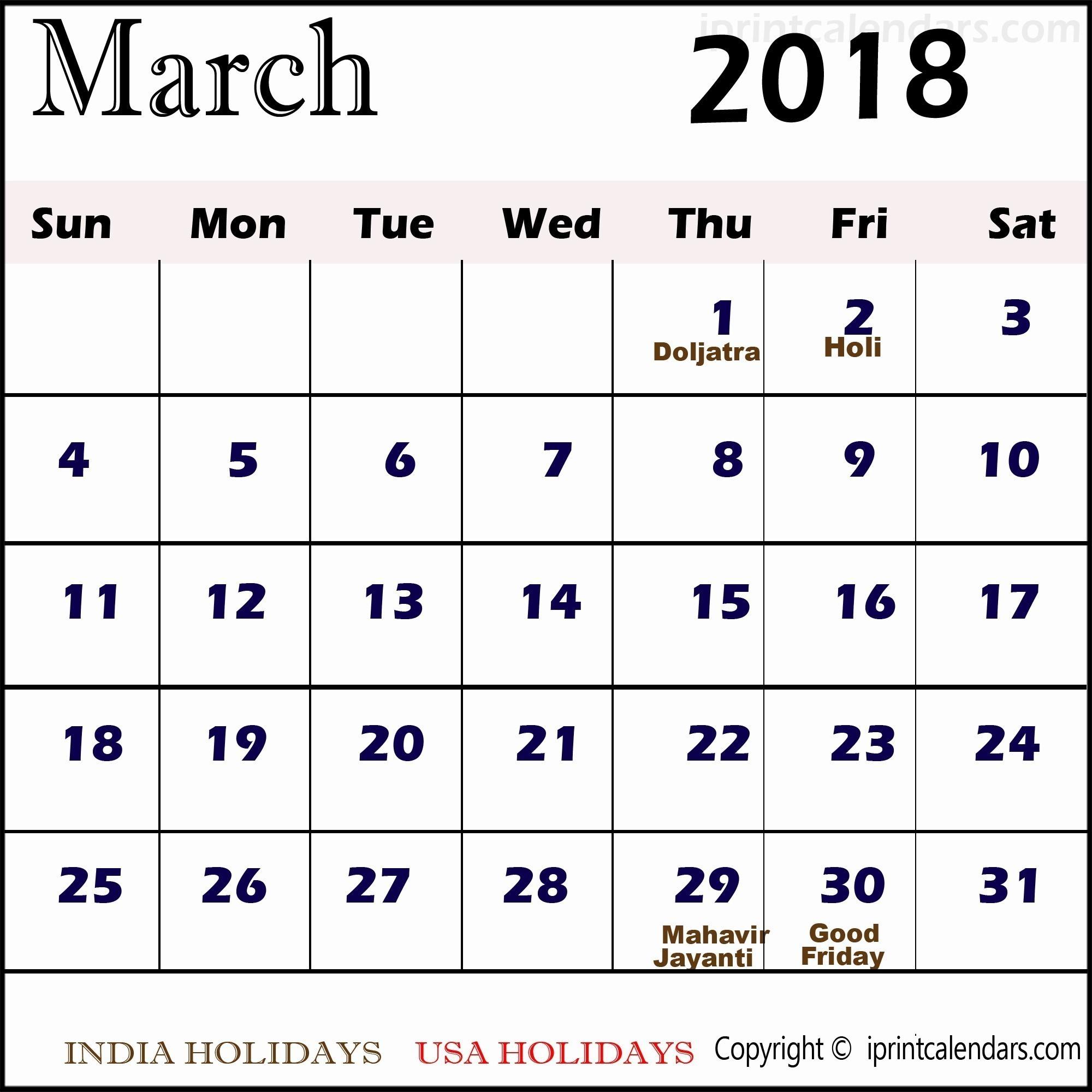 March Calendar 2019 Más Recientes Knowledge Regarding Printable Calendar for 2019 with Holidays Of March Calendar 2019 Mejores Y Más Novedosos 30 Day Calendar Template Awesome Calendar 1 April 2018 to 31 March