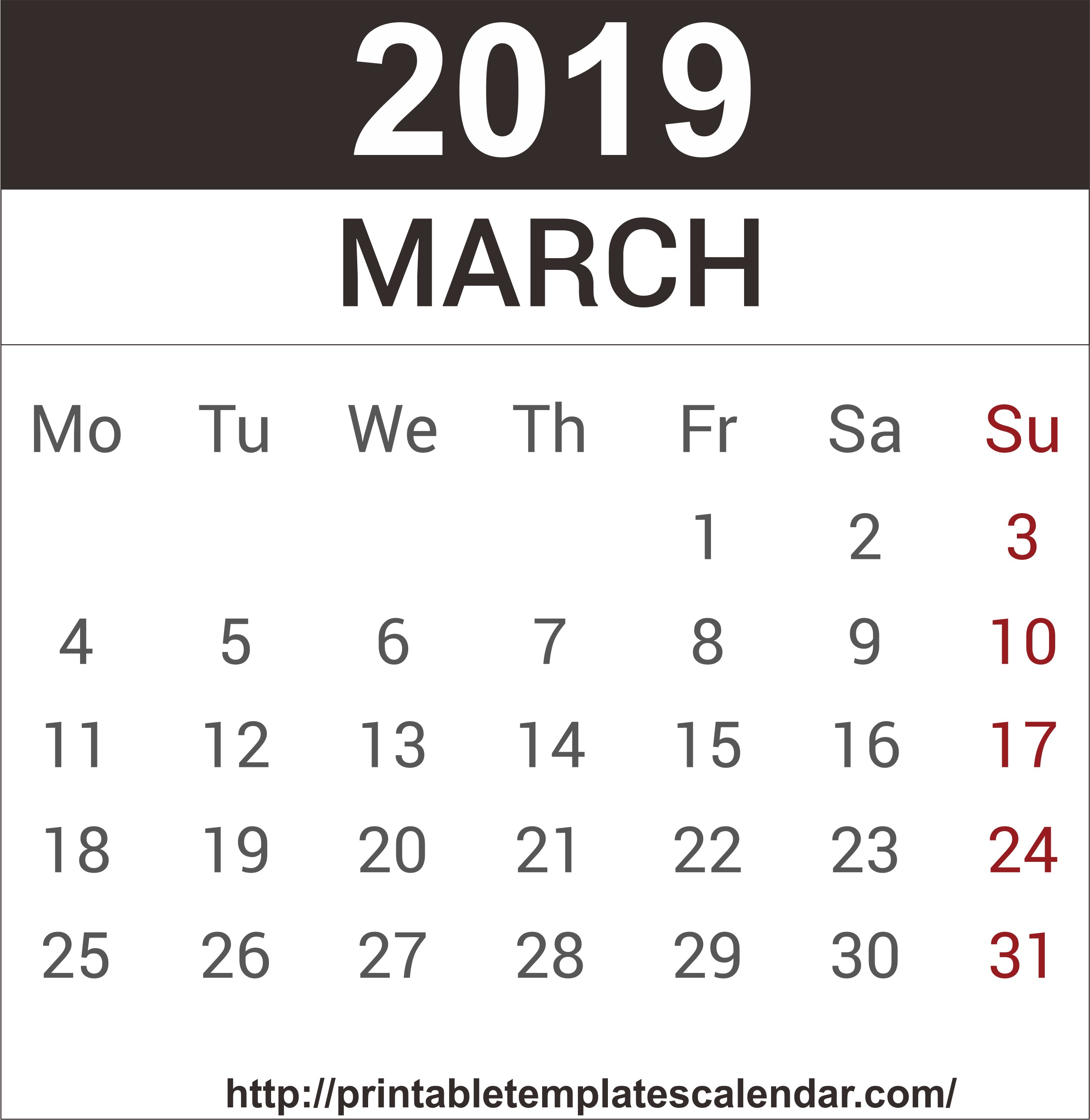March Calendar 2019 Más Recientes March 2019 Printable Calendar Templates Pdf Excel Word Of March Calendar 2019 Más Populares February March Calendar 2019 2018 Printable Calendar Store