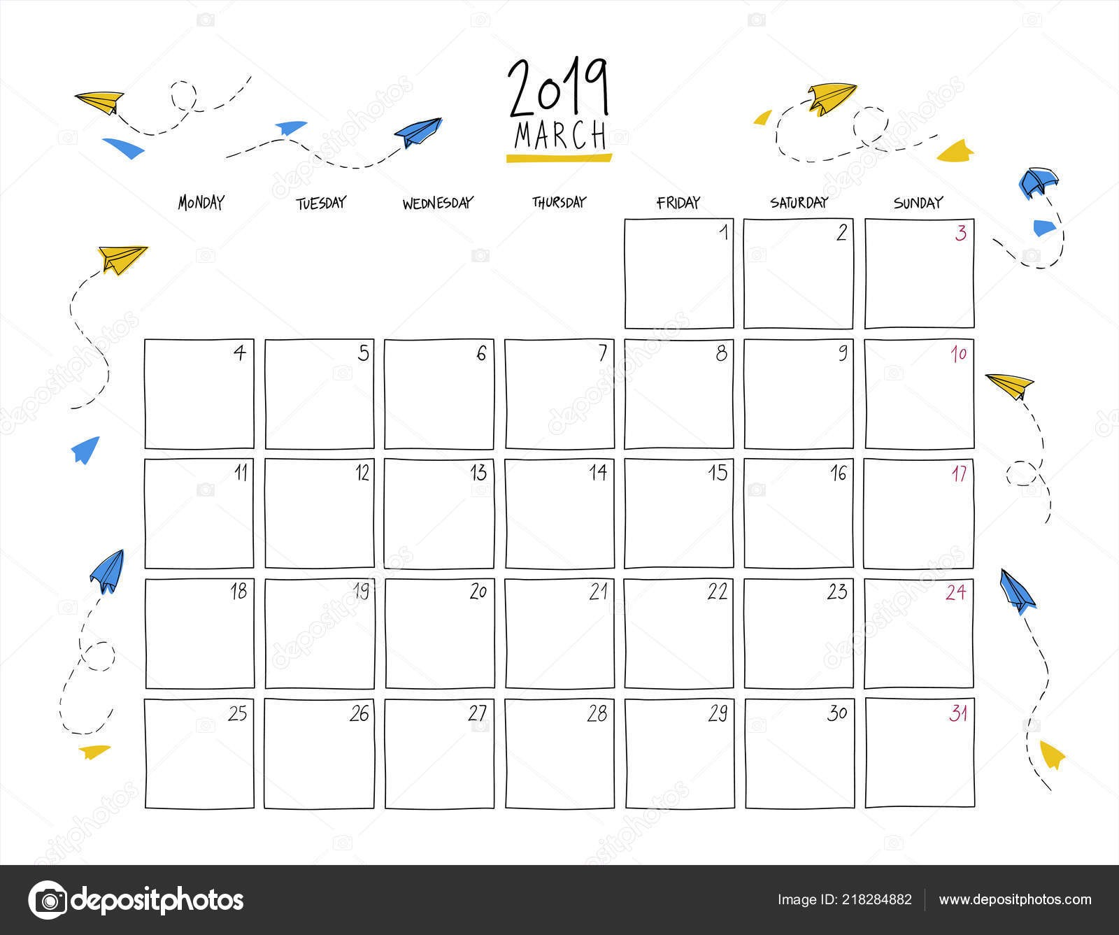 March 2019 Wall Calendar Colorful Sketch Horizontal Template Letter