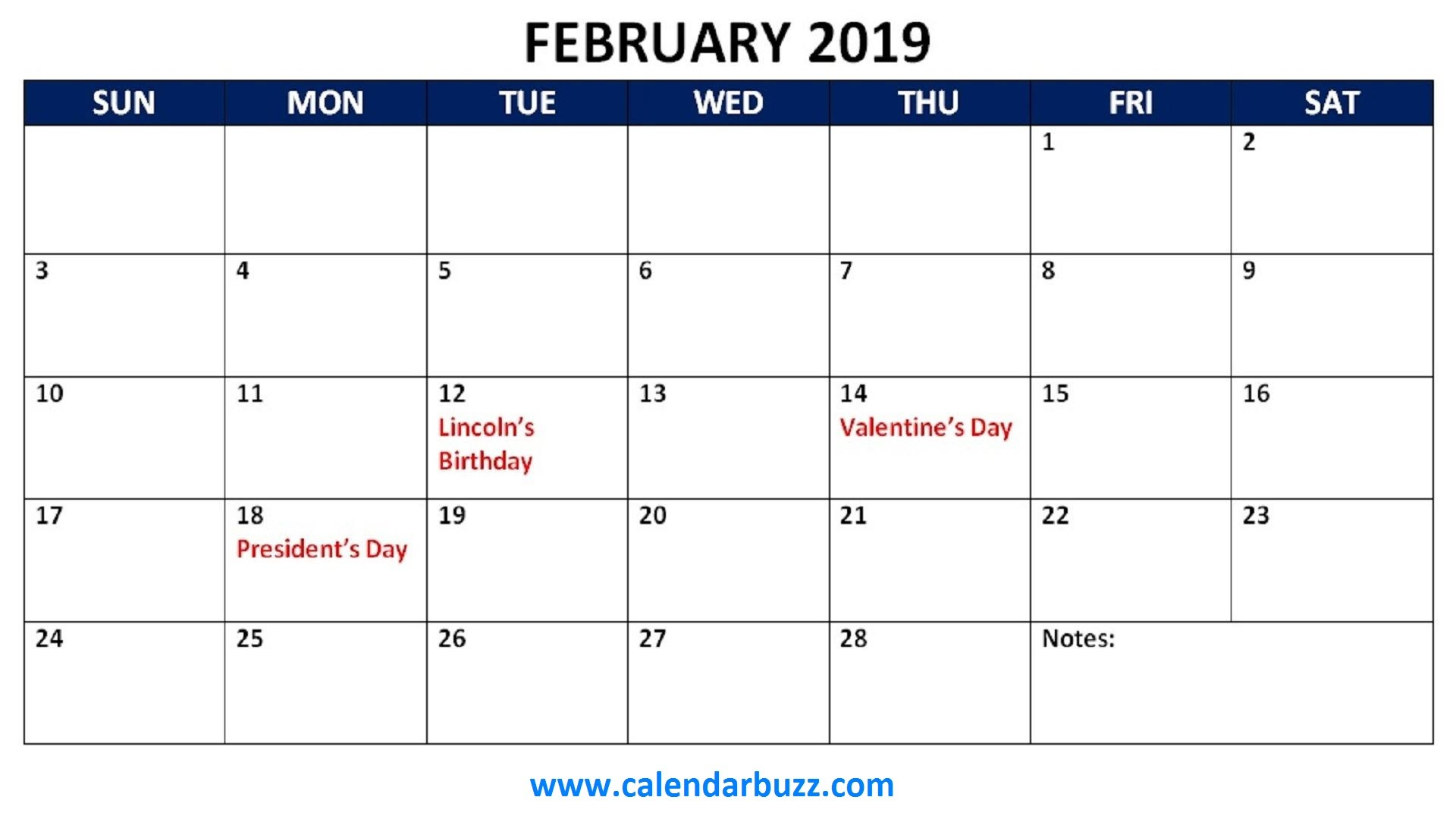 March Calendar Blank 2019 Mejores Y Más Novedosos February 2019 Calendar with Holidays Printable Usa Uk Canada Nz Sa Of March Calendar Blank 2019 Más Caliente 2019 March for Life Info
