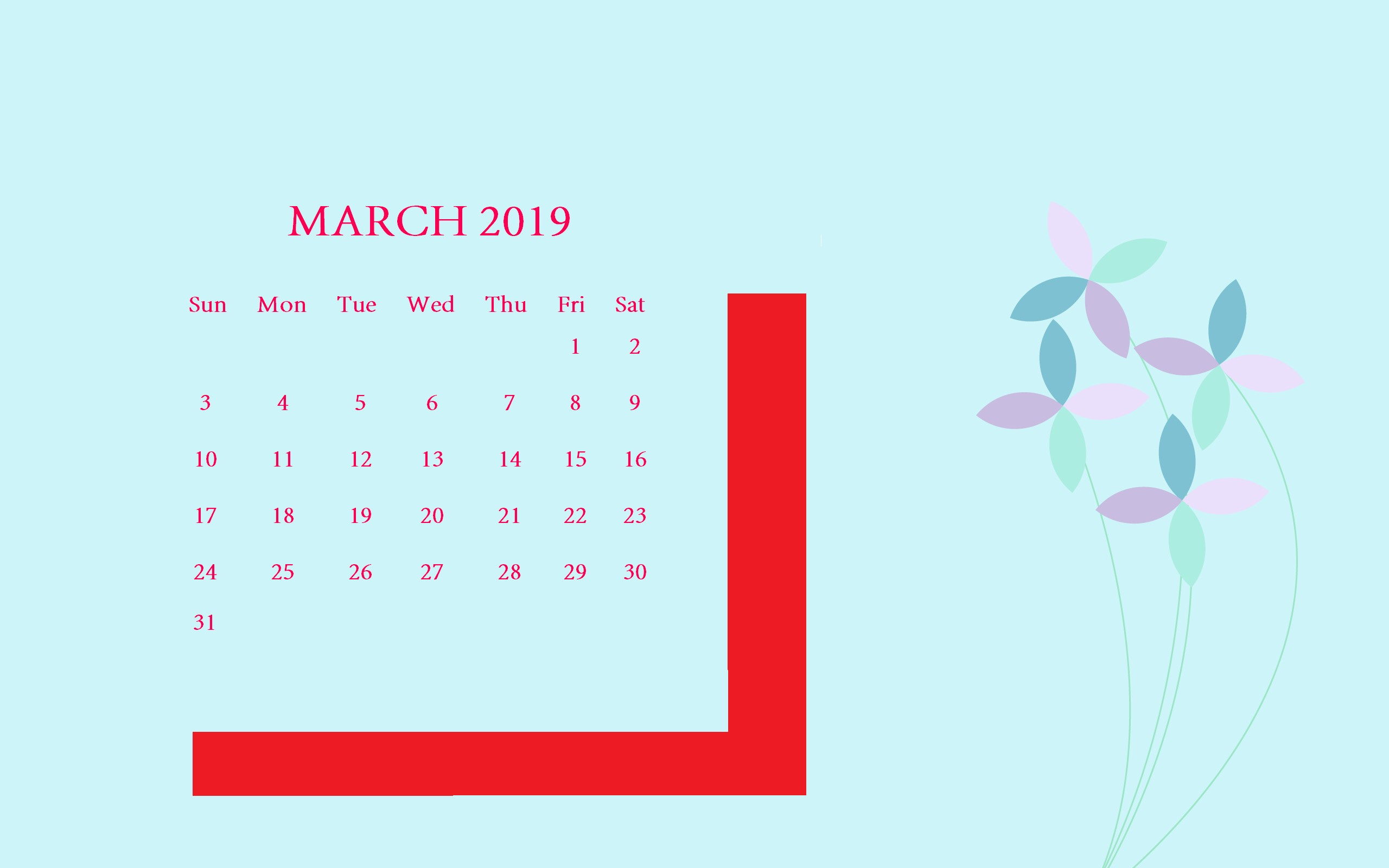 Flowers March 2019 Desktop Calendar march march2019