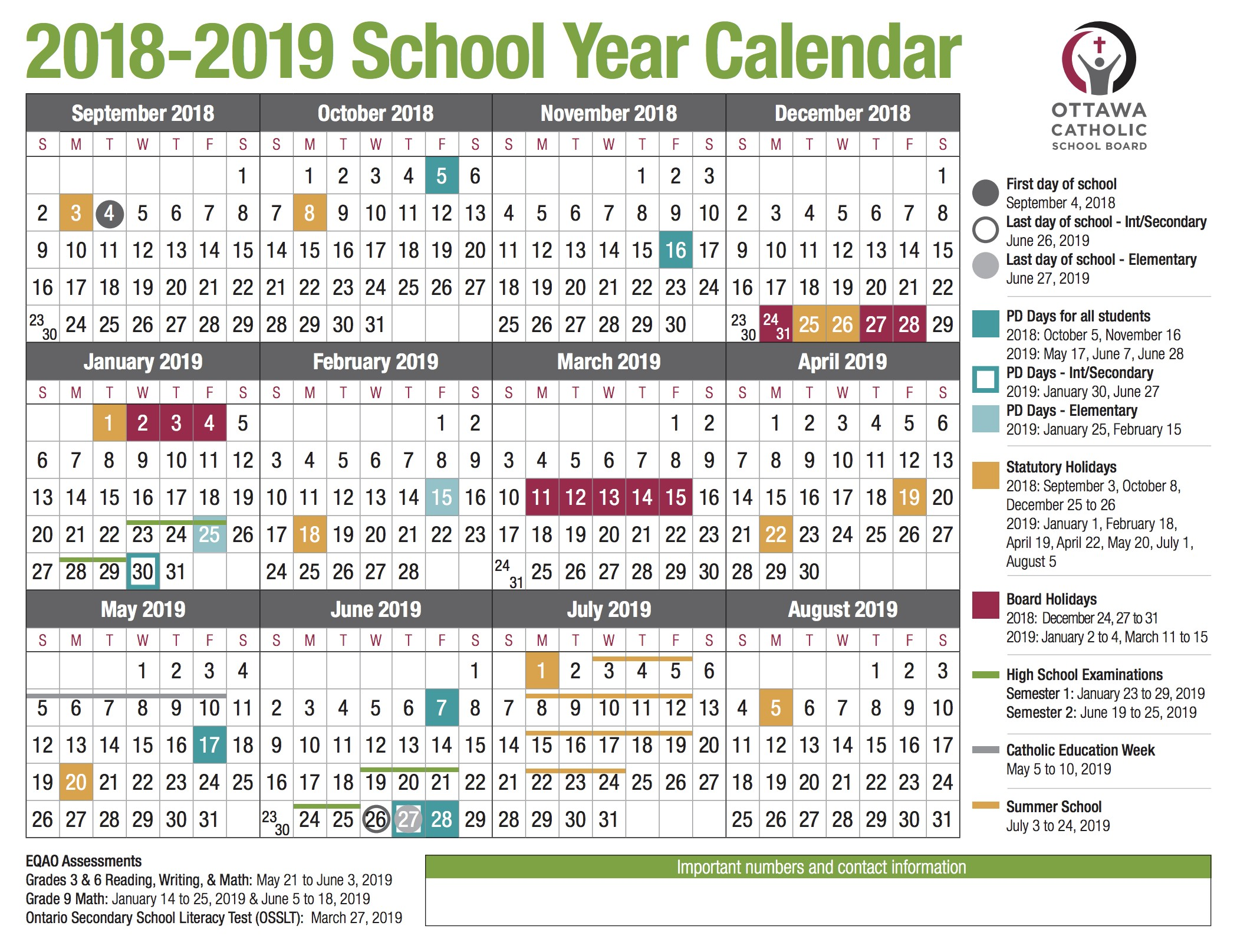 2018 Printable Vacation Calendar Template 2014 School Year Calendar From the Ocsb
