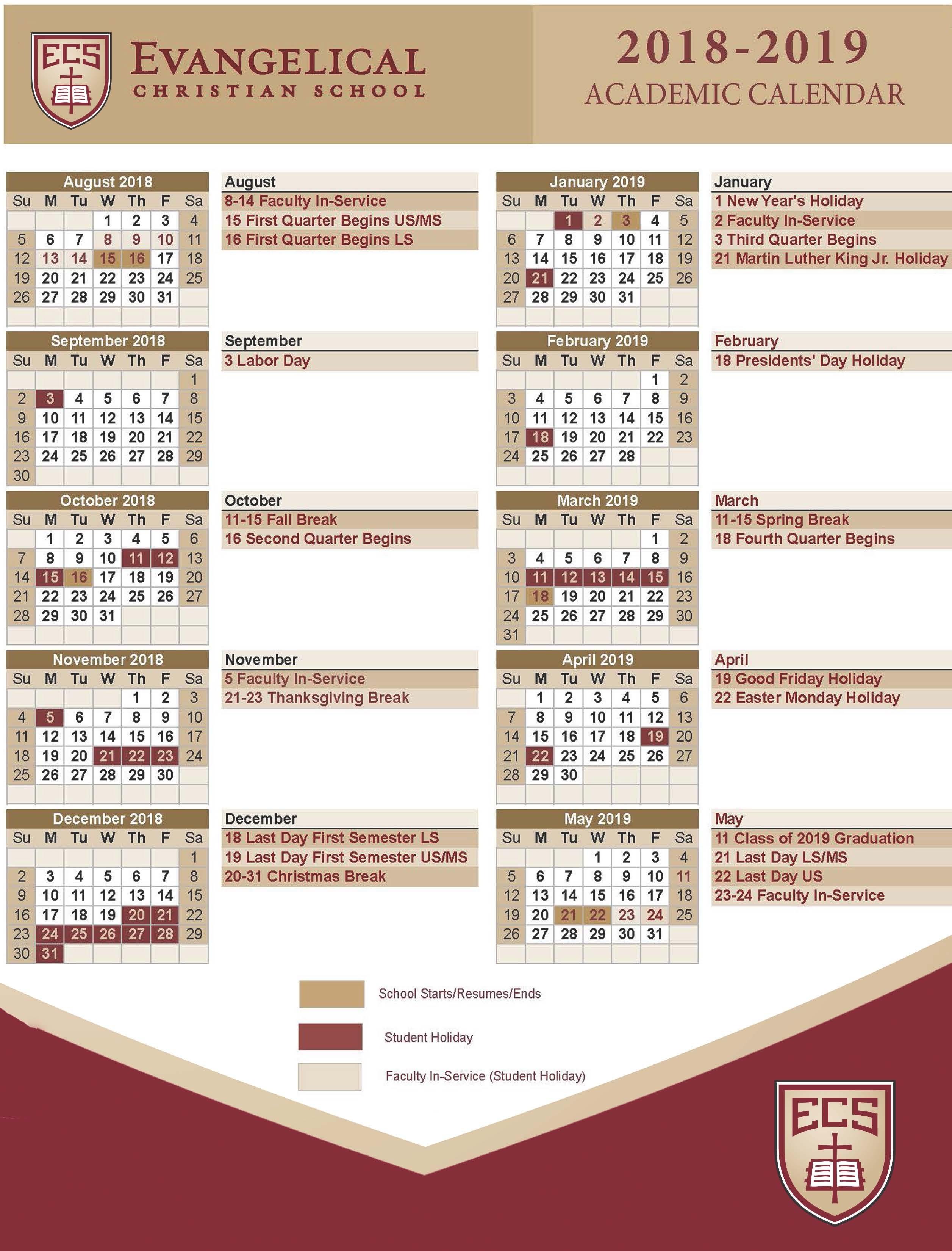 March Holiday Calendar 2019 Actual Calendars Evangelical Christian School Of March Holiday Calendar 2019 Más Caliente Printable March 2019 Calendar Template Holidays Yes Calendars