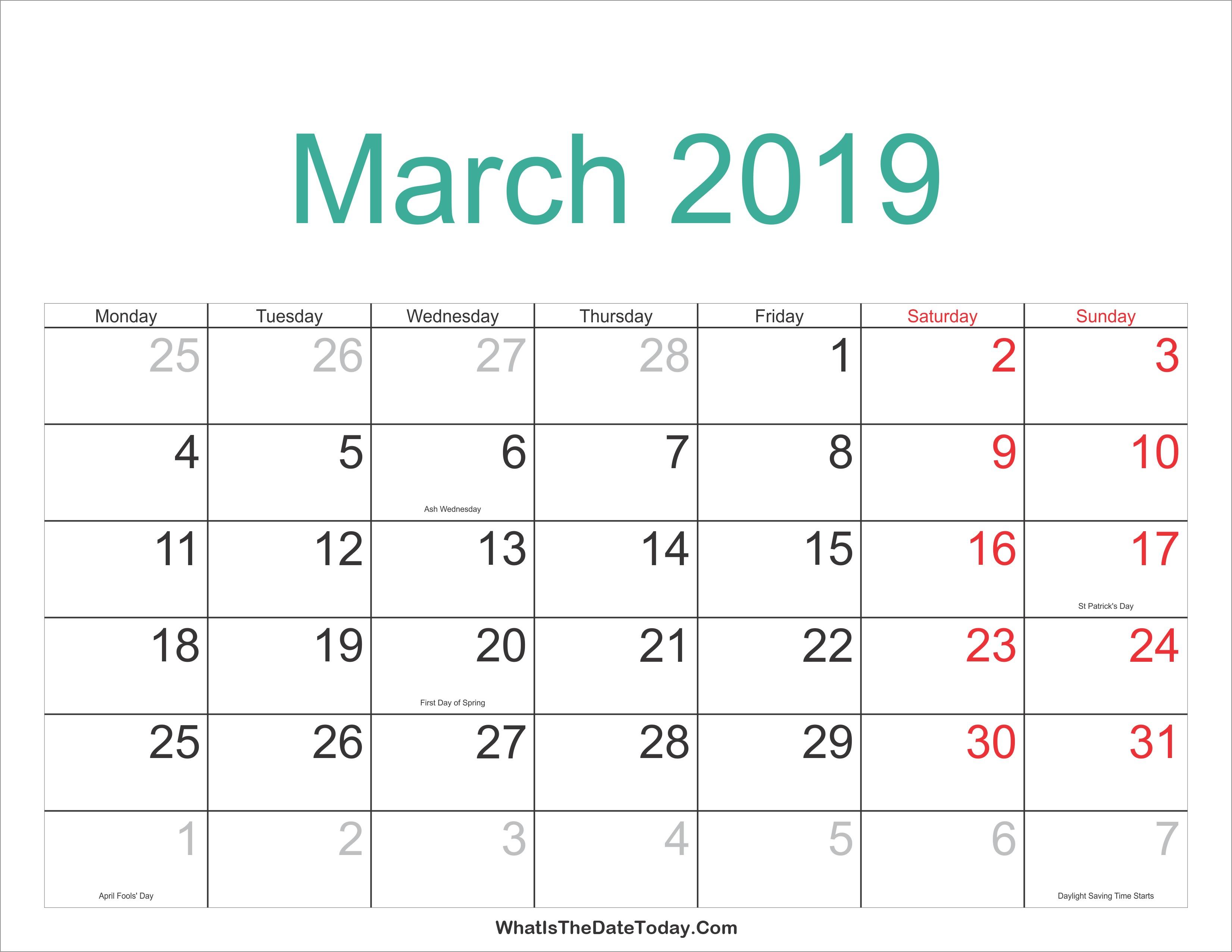 March Holiday Calendar 2019 Más Actual March 2019 Calendar Printable with Holidays Of March Holiday Calendar 2019 Más Caliente Printable March 2019 Calendar Template Holidays Yes Calendars