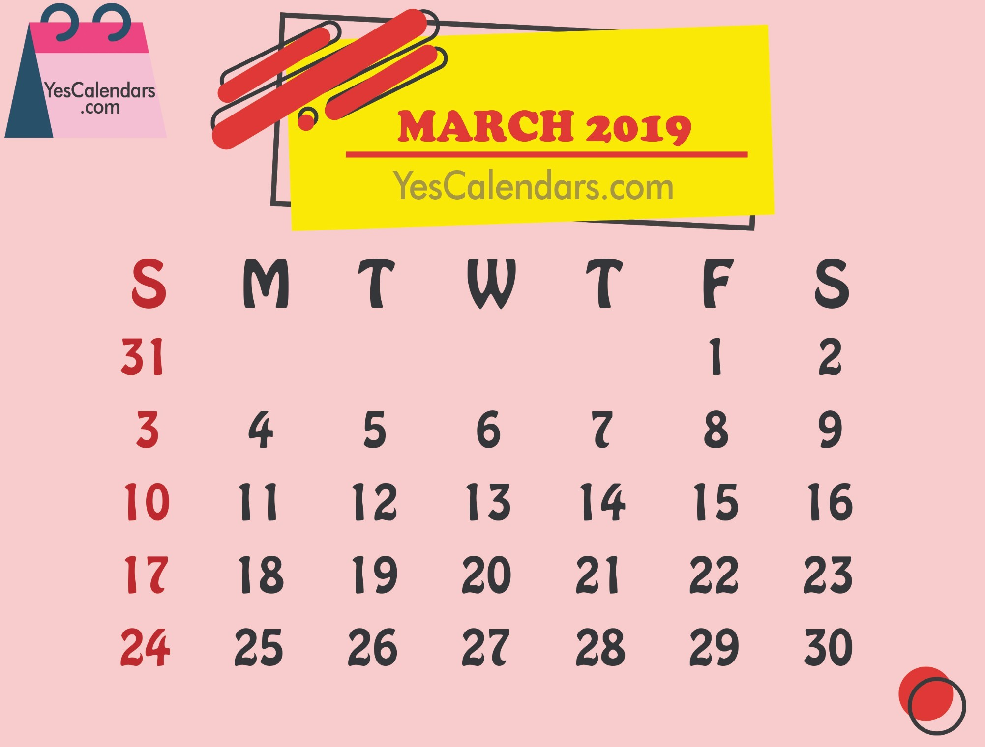 Printable March 2019 Calendar Template Holidays Yes Calendars
