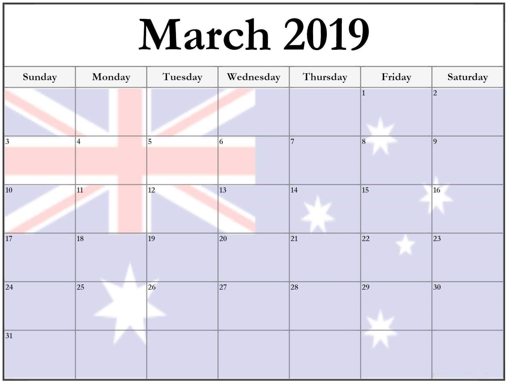March Holiday Calendar 2019 Recientes March 2019 Calendar with Holidays Australia Marchcalendar Of March Holiday Calendar 2019 Más Caliente Printable March 2019 Calendar Template Holidays Yes Calendars