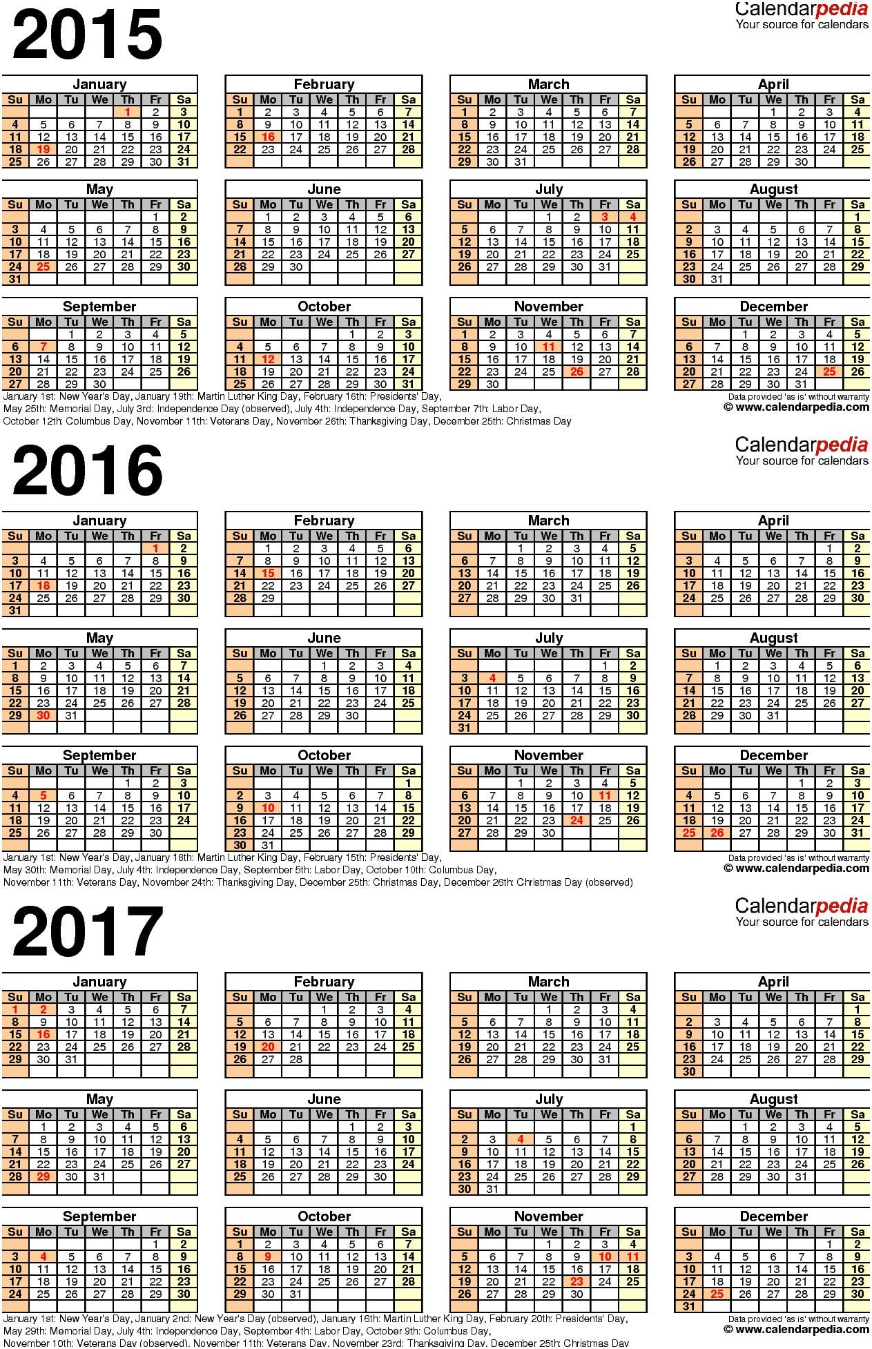 2015 2016 2017 Calendar 4 Three Year Printable Pdf Calendars 2019 Monthly Calendar