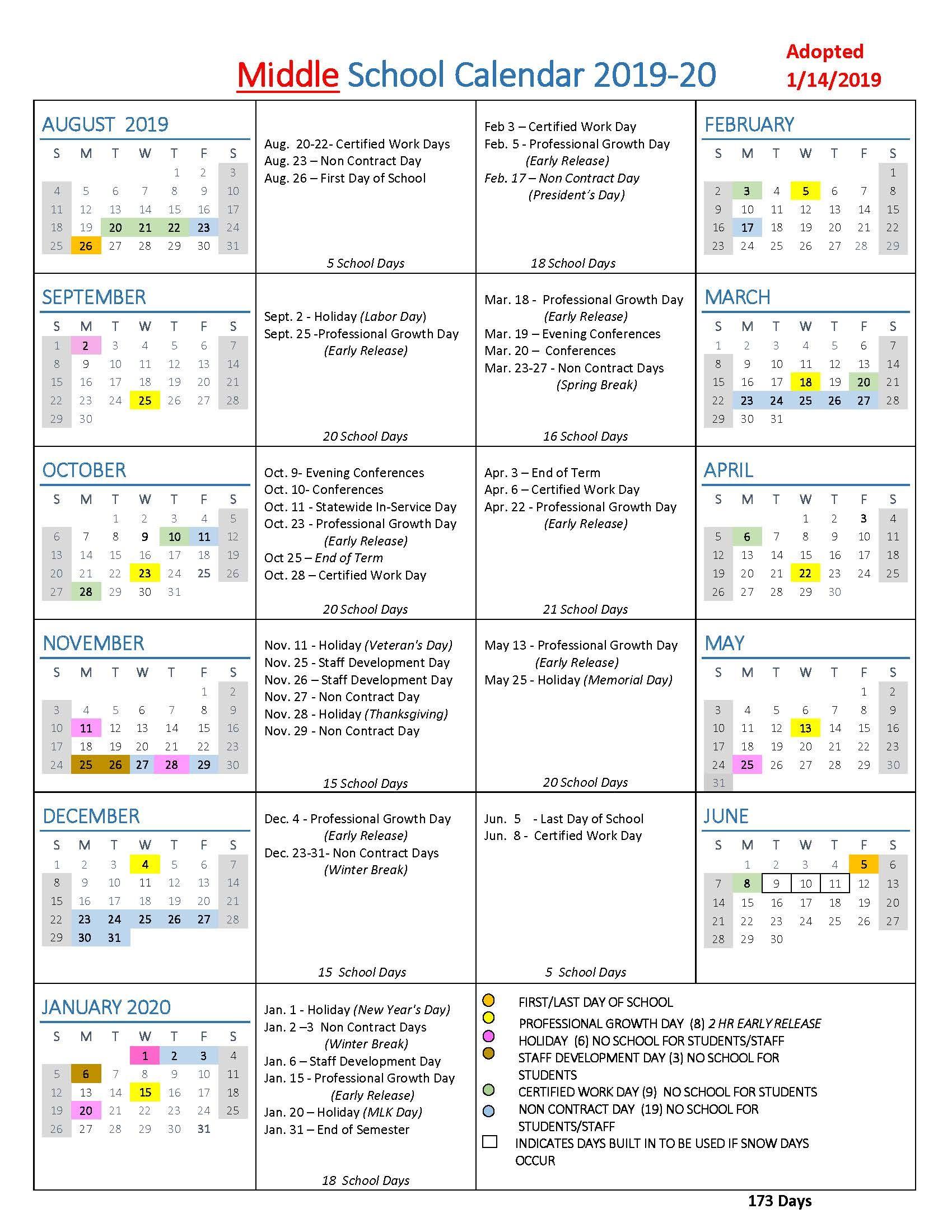 Middle School Calendar