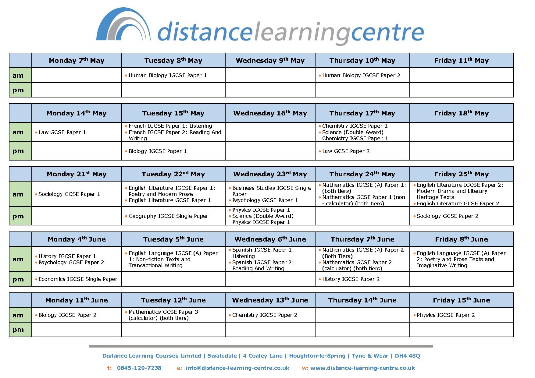 GCSE Exam Dates