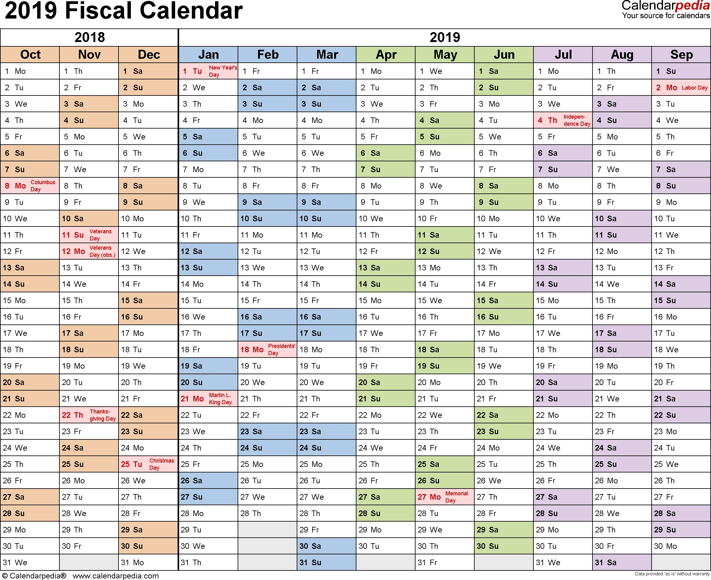 Template 1 Fiscal year calendar 2019 for Word landscape orientation months horizontally