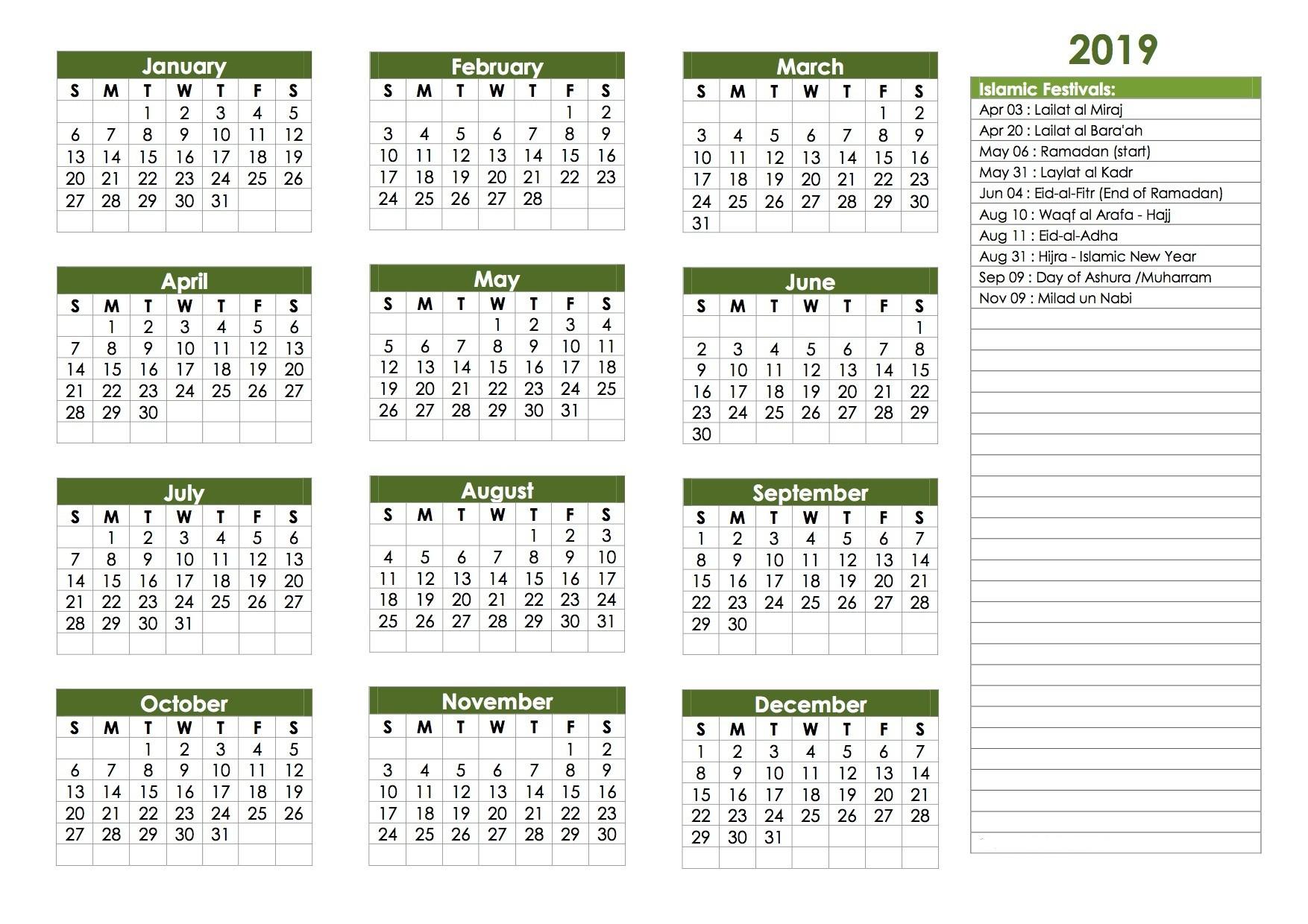 Islamic Religious Festival Holidays Calendar 2019