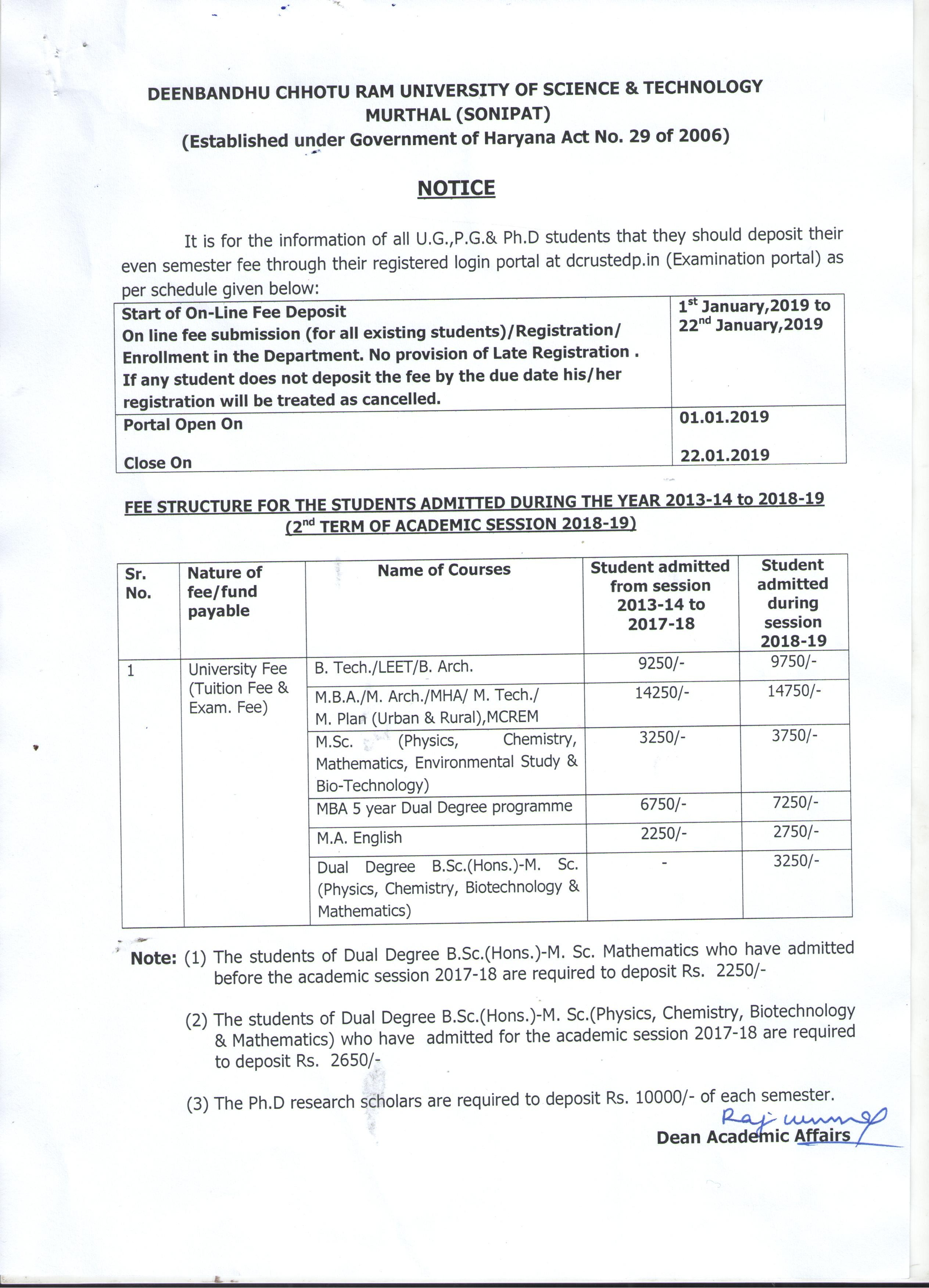 Even semester fee notice for UG PG & Ph D courses