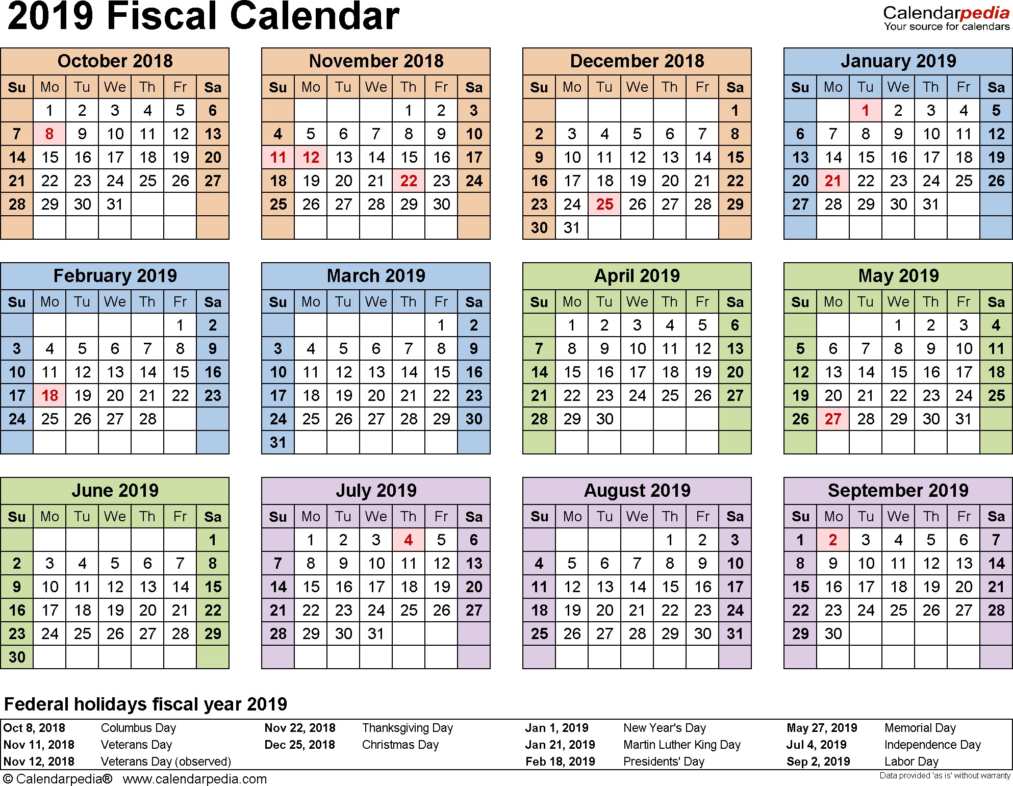Template 4 Fiscal year calendar 2019 for Word landscape orientation year at a